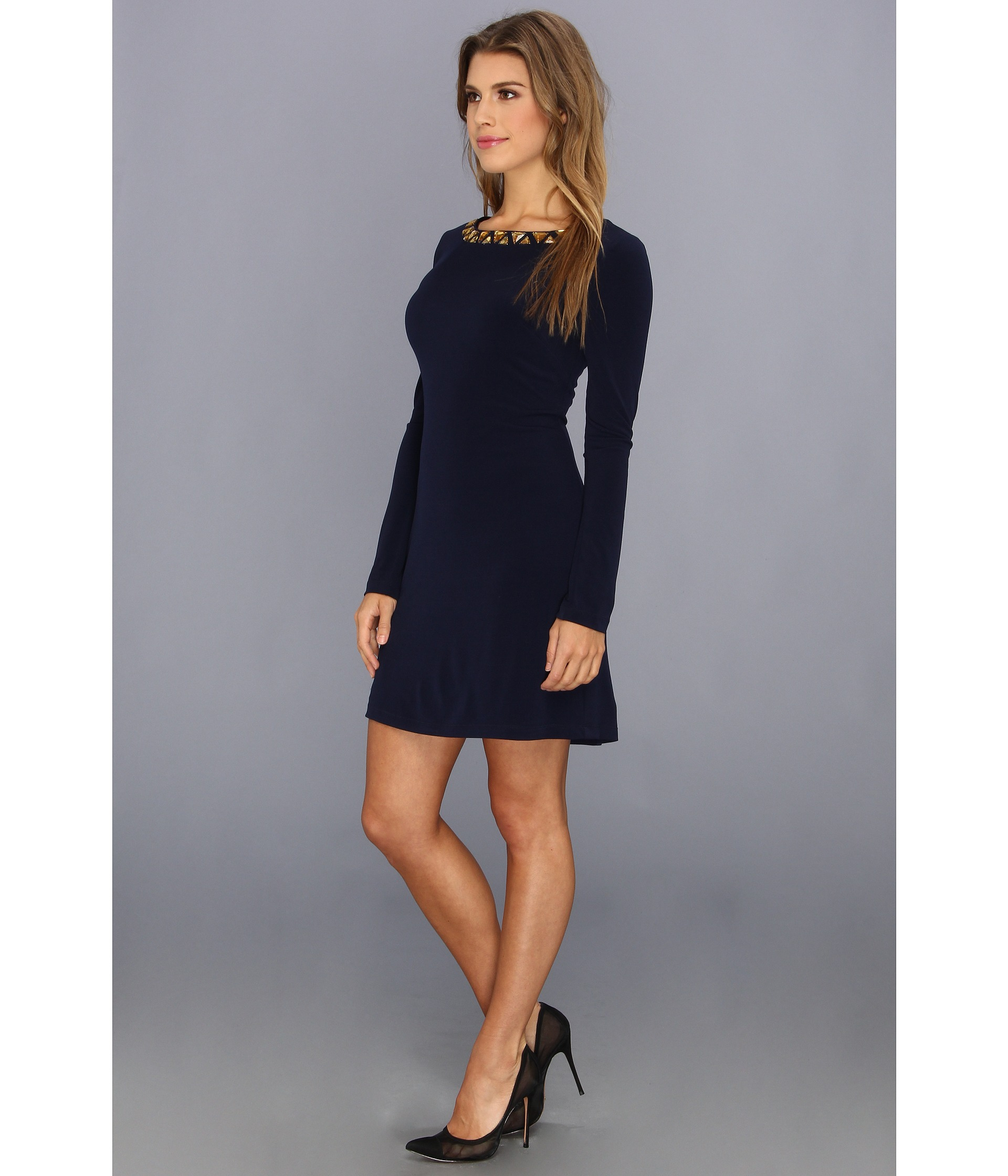 489c9566 Vince Camuto Long Sleeve Beaded Neckline Shift Dress in Blue - Lyst