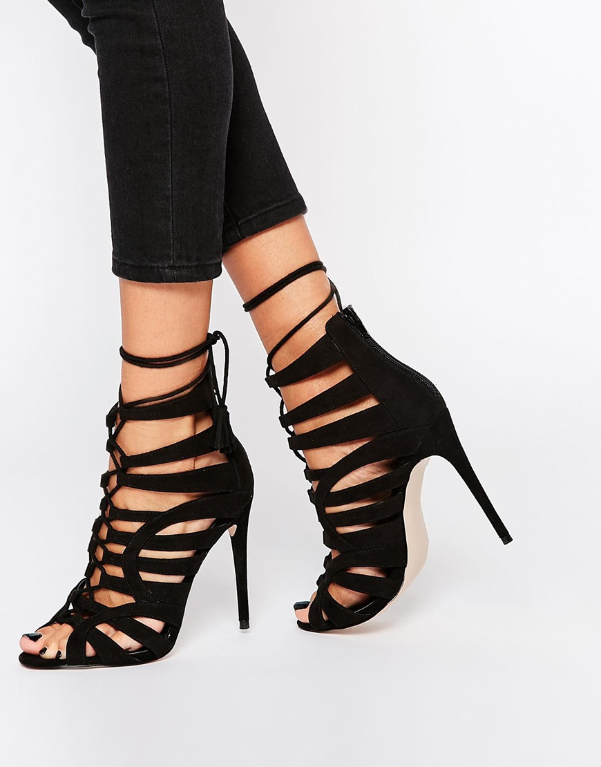 Lyst - Asos Harper Wide Fit Lace Up Heeled Shoes In Black