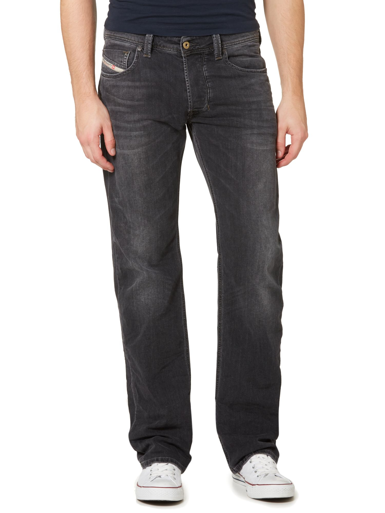 diesel larkee 669f straight fit stretch jeans in gray for