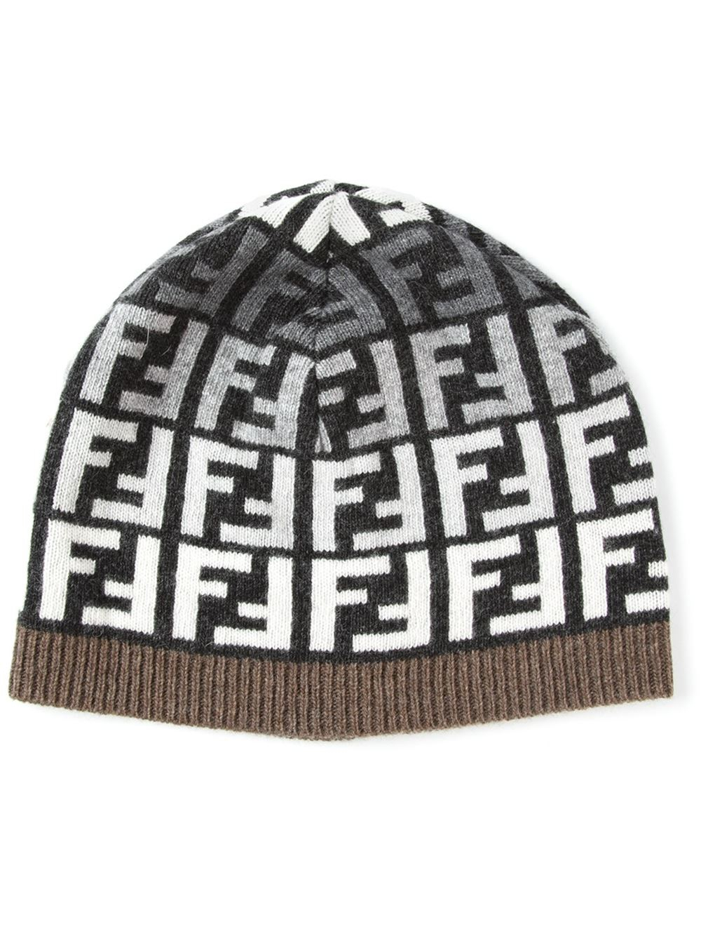 Fendi Ff Logo Beanie in Gray for Men - Lyst 70b377406622