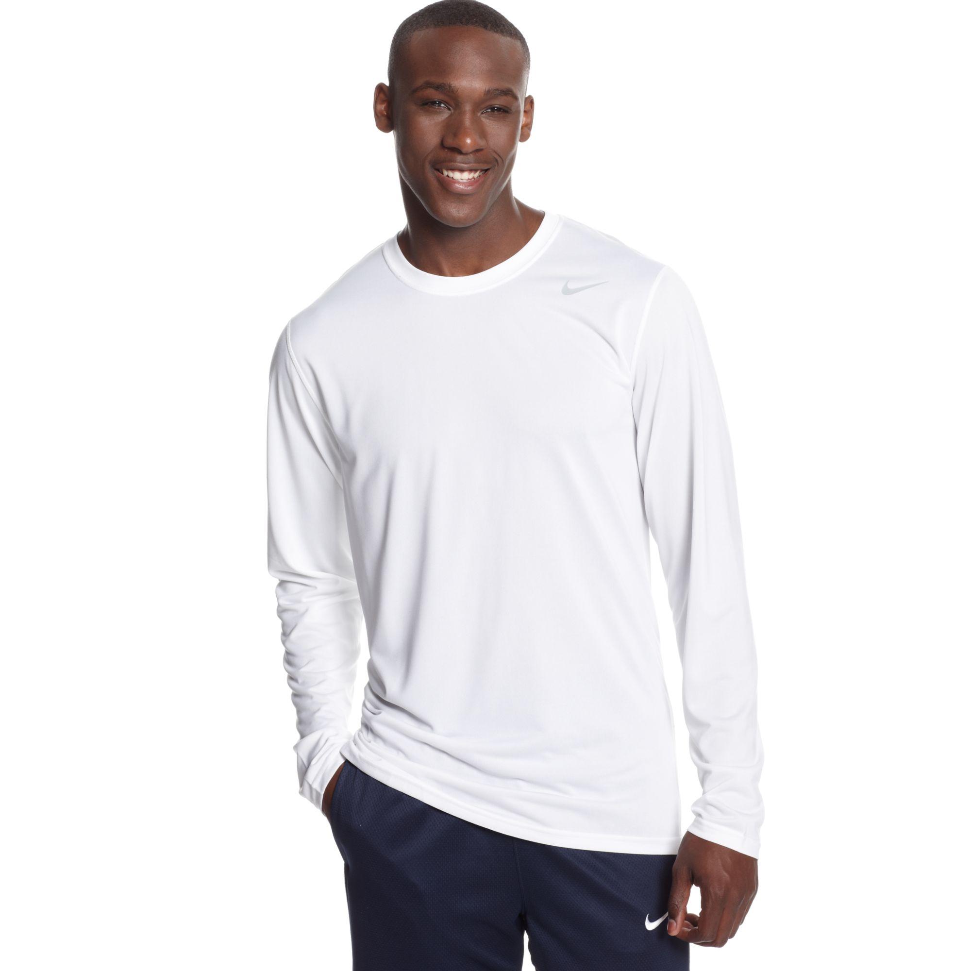 Nike Legend Long Sleeve Dri Fit T Shirt In White For Men