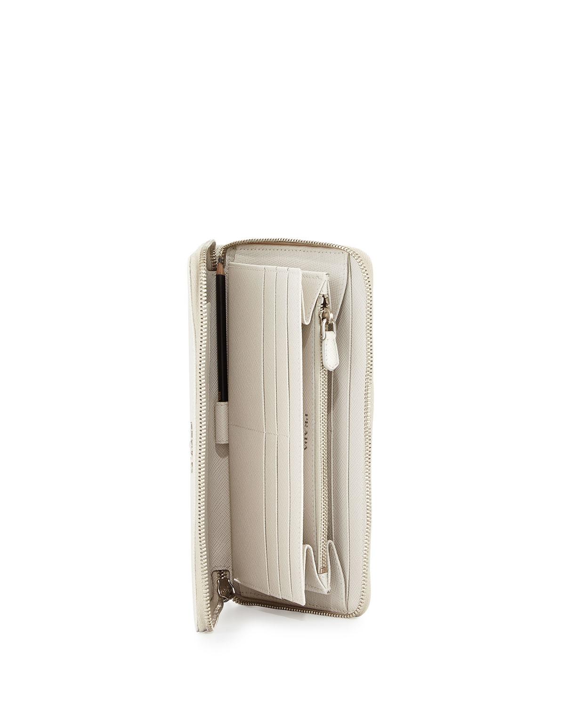 Prada Saffiano Metal Oro Travel Wallet in White | Lyst