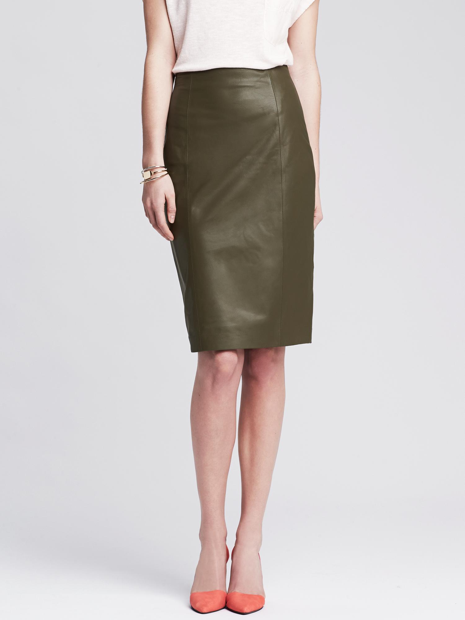 banana republic heritage olive leather pencil skirt in