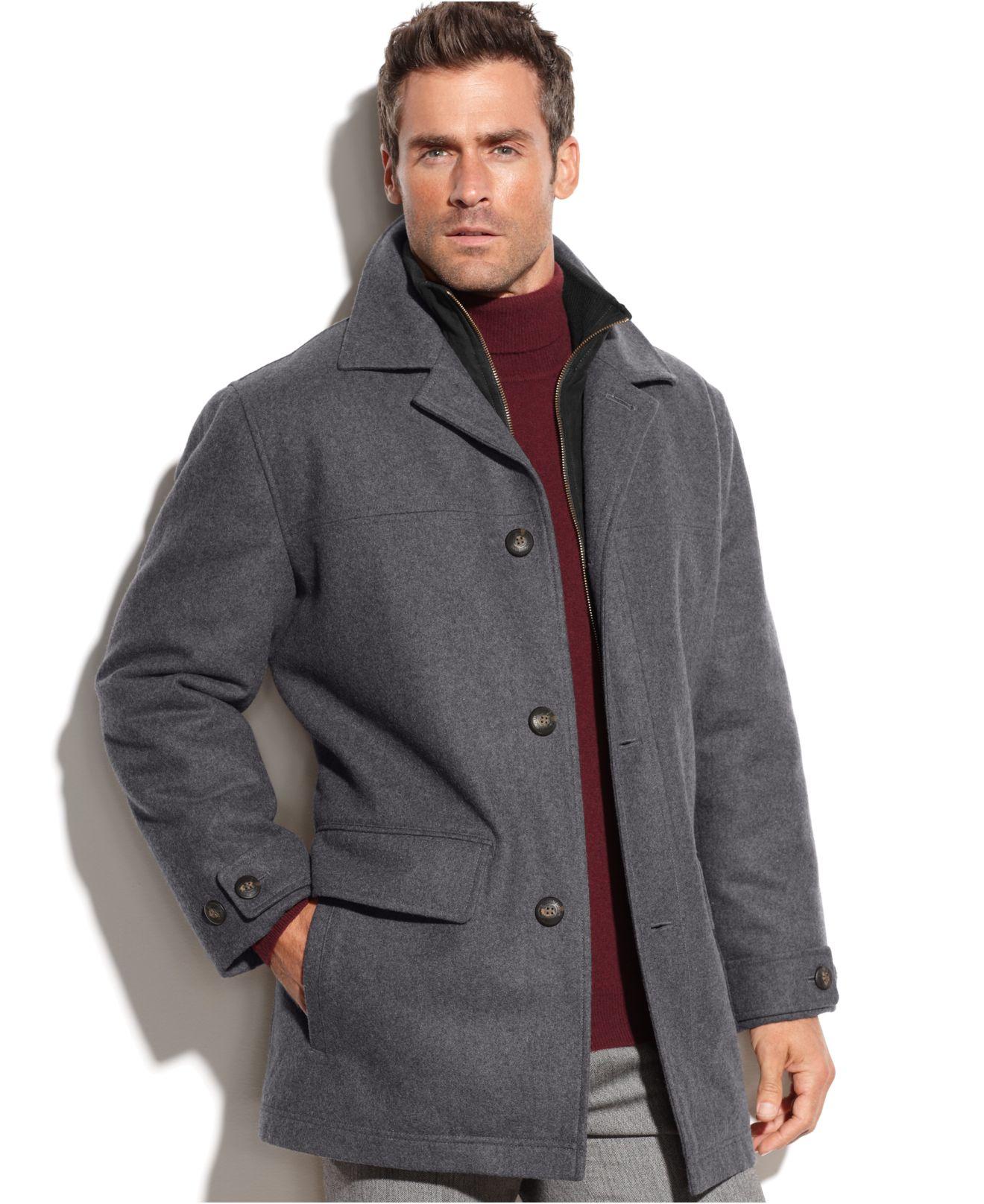 London fog Bristol Microsuede Bib Wool-Blend Car Coat in Gray for ...