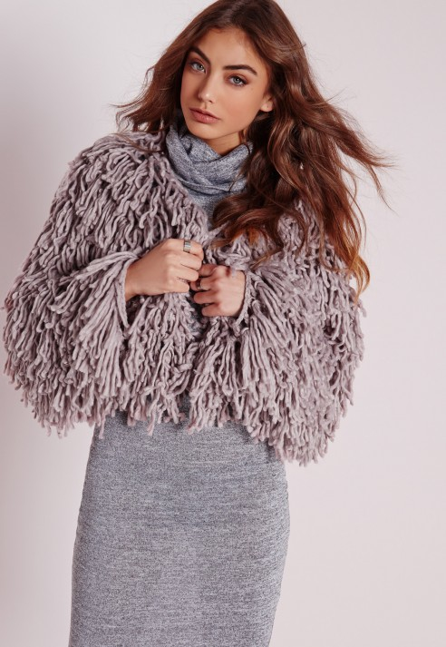 Missguided Chunky Looped Short Cardigan Grey in Gray | Lyst
