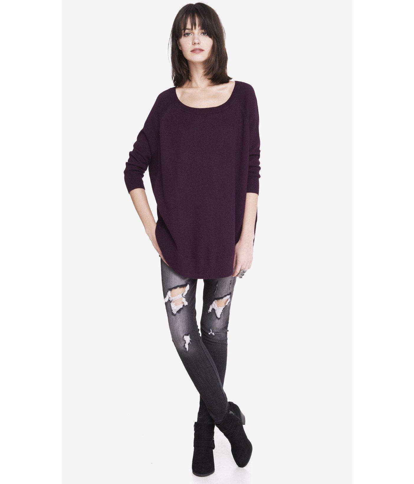 Express Extreme Circle Hem Tunic Sweater in Purple | Lyst