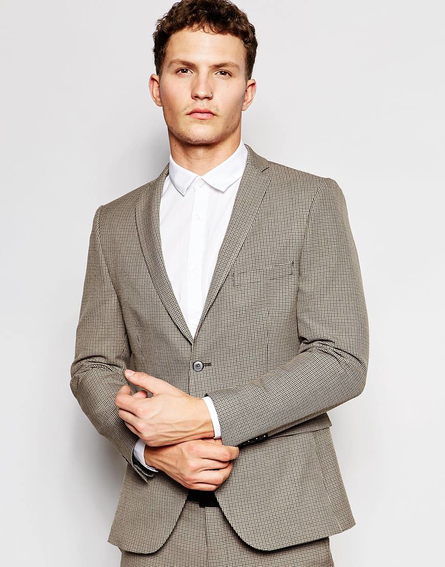 Selected Elected Homme Dogtooth Wedding Suit Jacket With Stretch