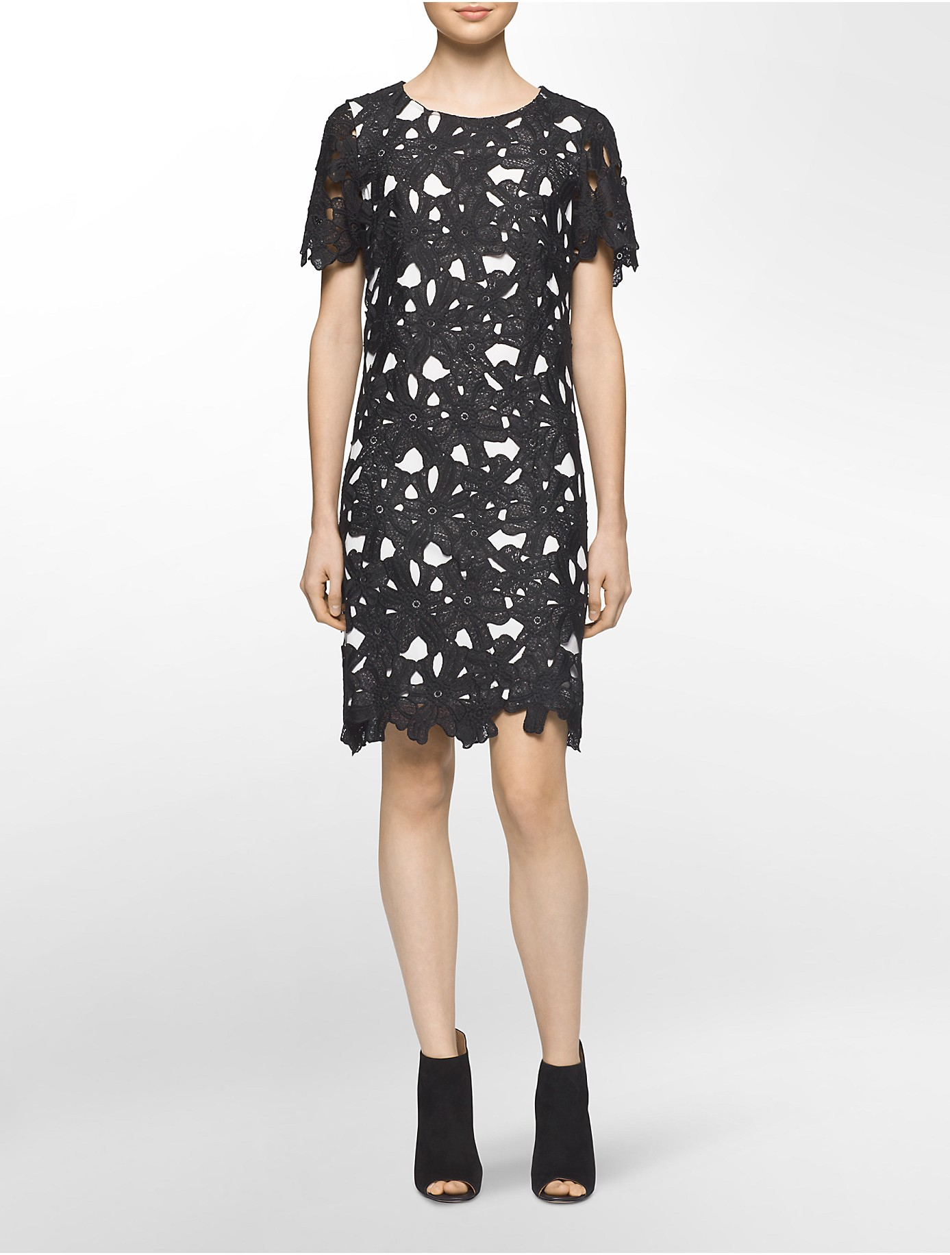calvin klein floral lace shortsleeve shift dress in white