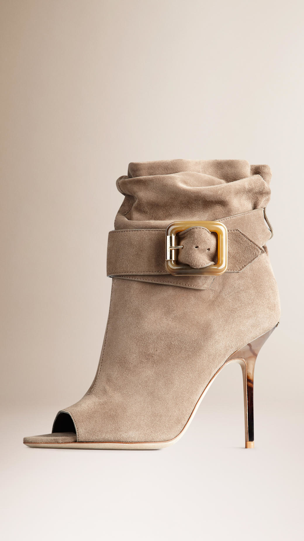 eaba60b8e09 Lyst - Burberry Buckle Detail Suede Peep-toe Ankle Boots in Natural