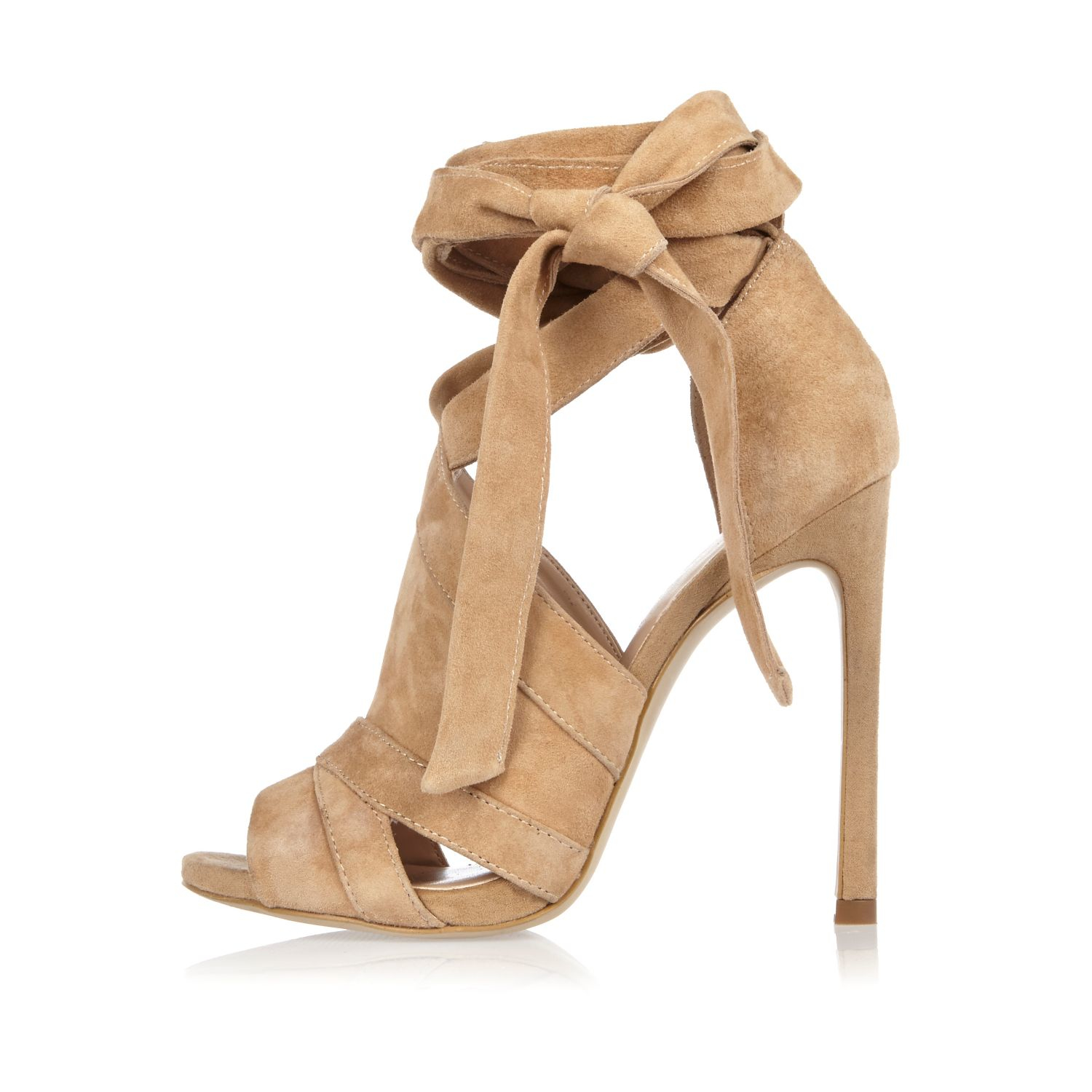 d3652b71b Lyst - River Island Camel Suede Tie Up Shoe Boots