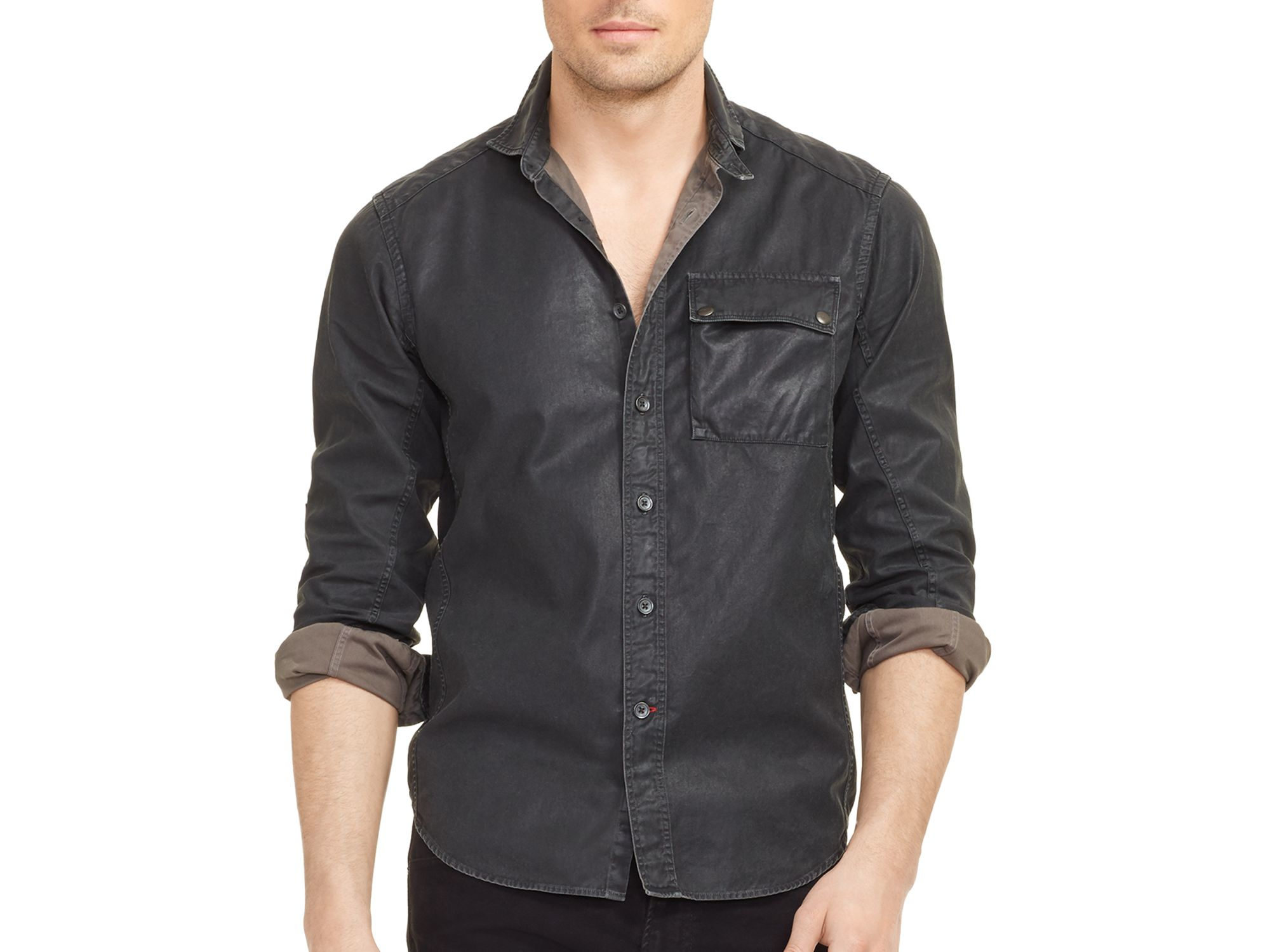 Lyst - Ralph lauren Black Label Quilted Twill Slim Fit Button Down ...