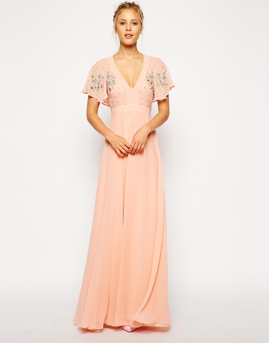 Lyst Asos Flutter Sleeve Beaded Maxi Dress In Pink