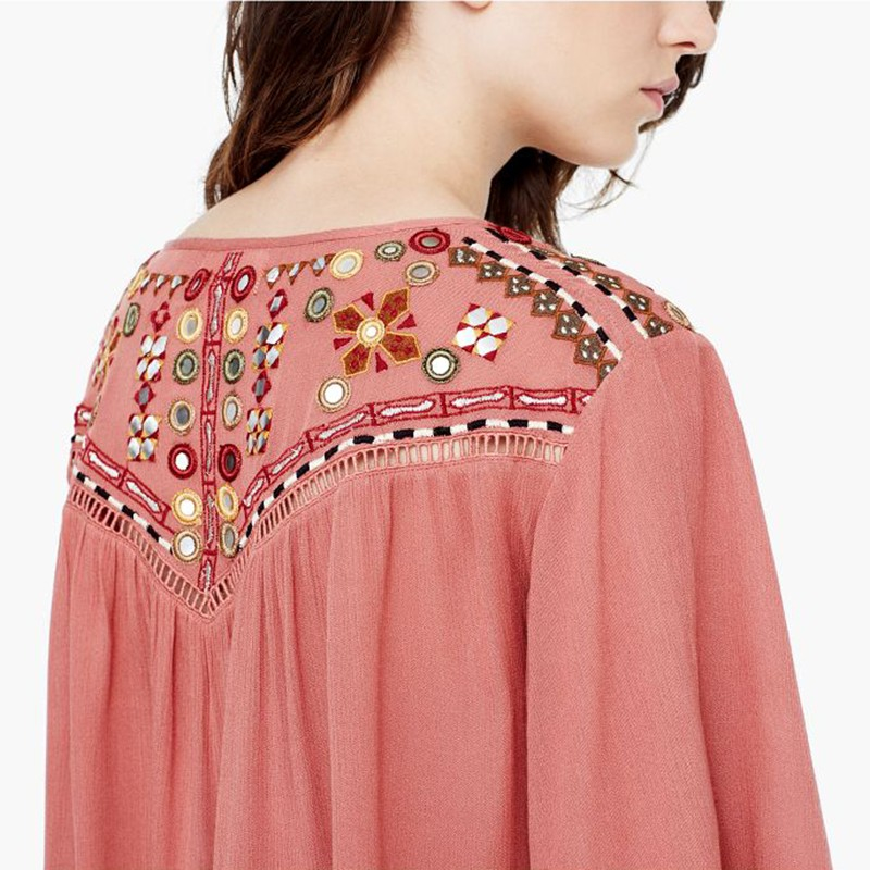 79c6bae08b222e Mango Embroidered Boho Blouse in Pink - Lyst