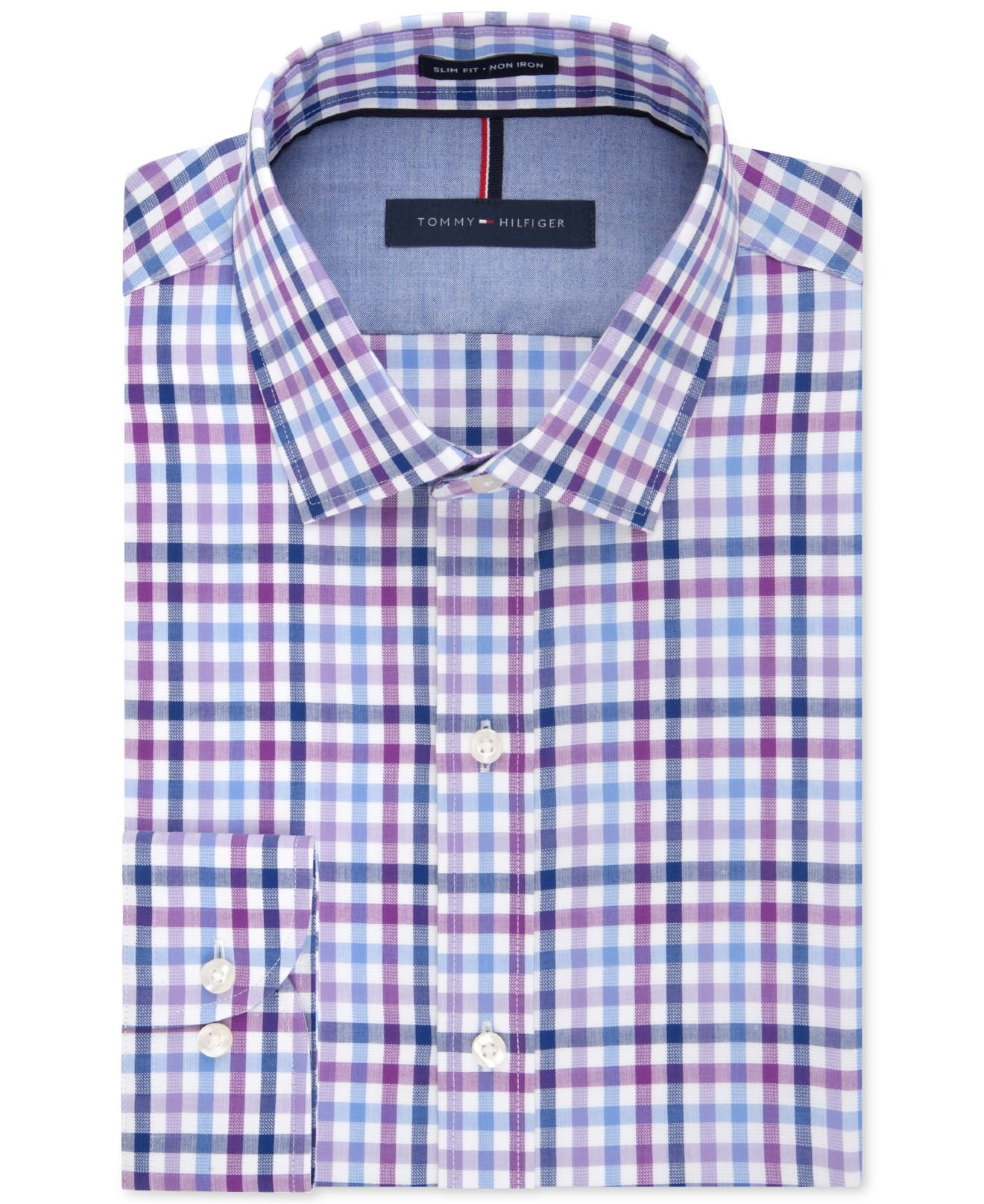 941f54499 Tommy Hilfiger Slim-fit Non-iron Blue Violet Gingham Dress Shirt for ...