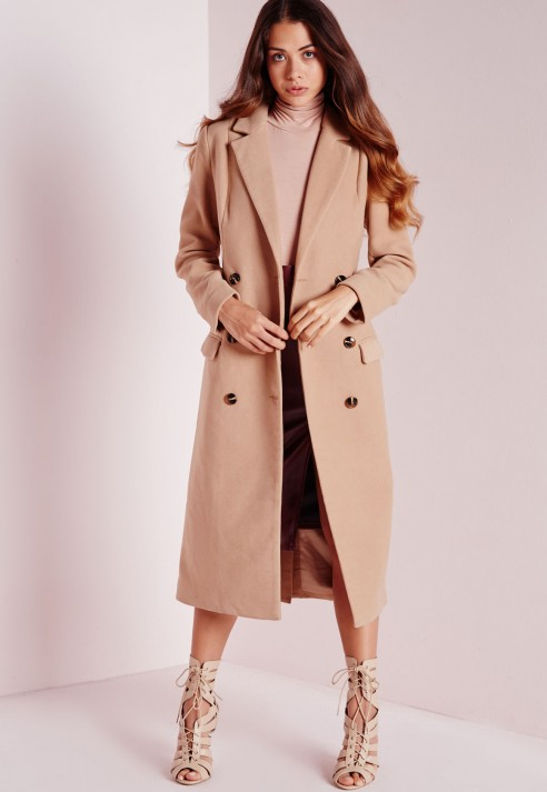 Missguided Double Breasted Tailored Long Faux Wool Coat Camel in ...