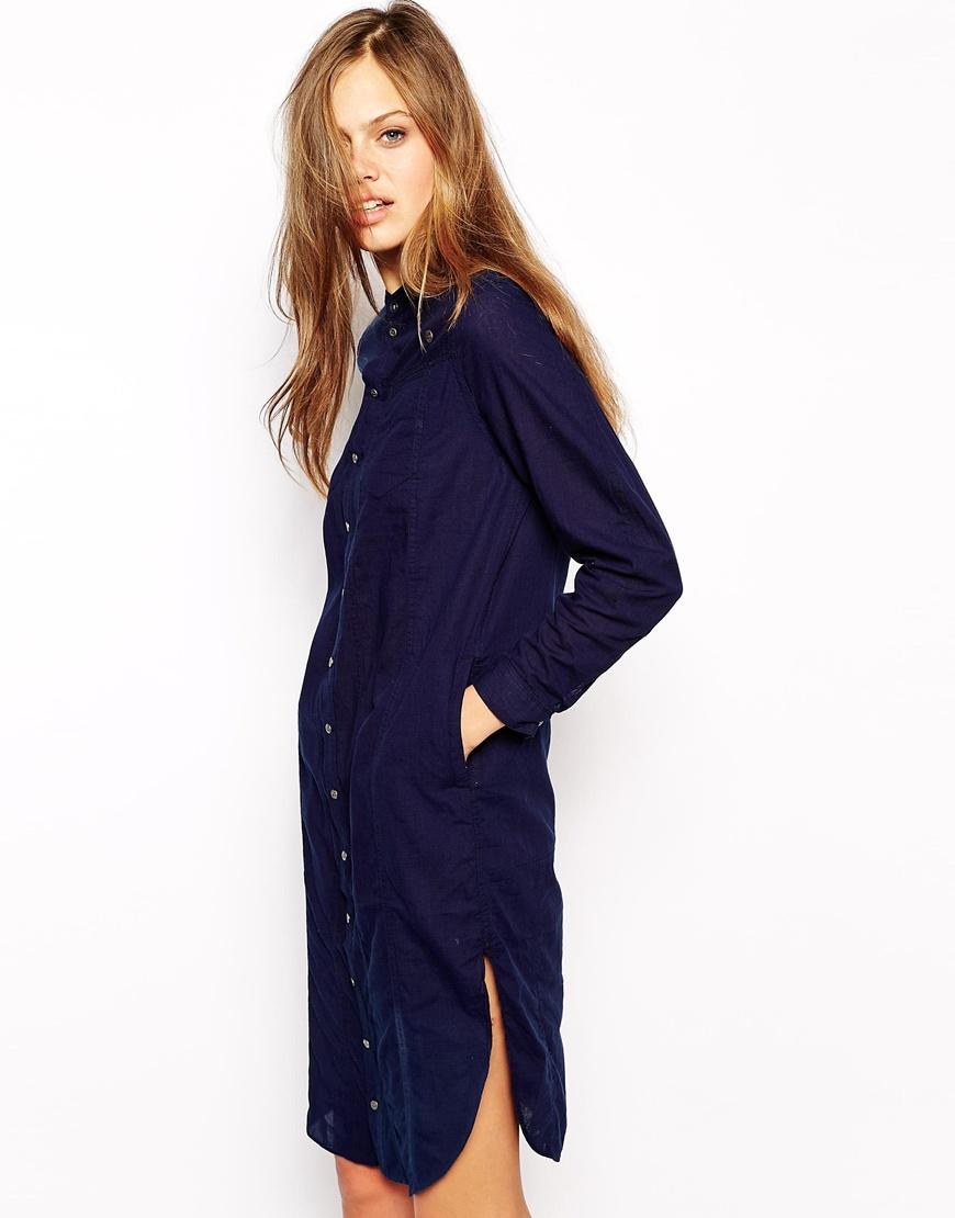 g star raw g star shirt dress in blue lyst. Black Bedroom Furniture Sets. Home Design Ideas