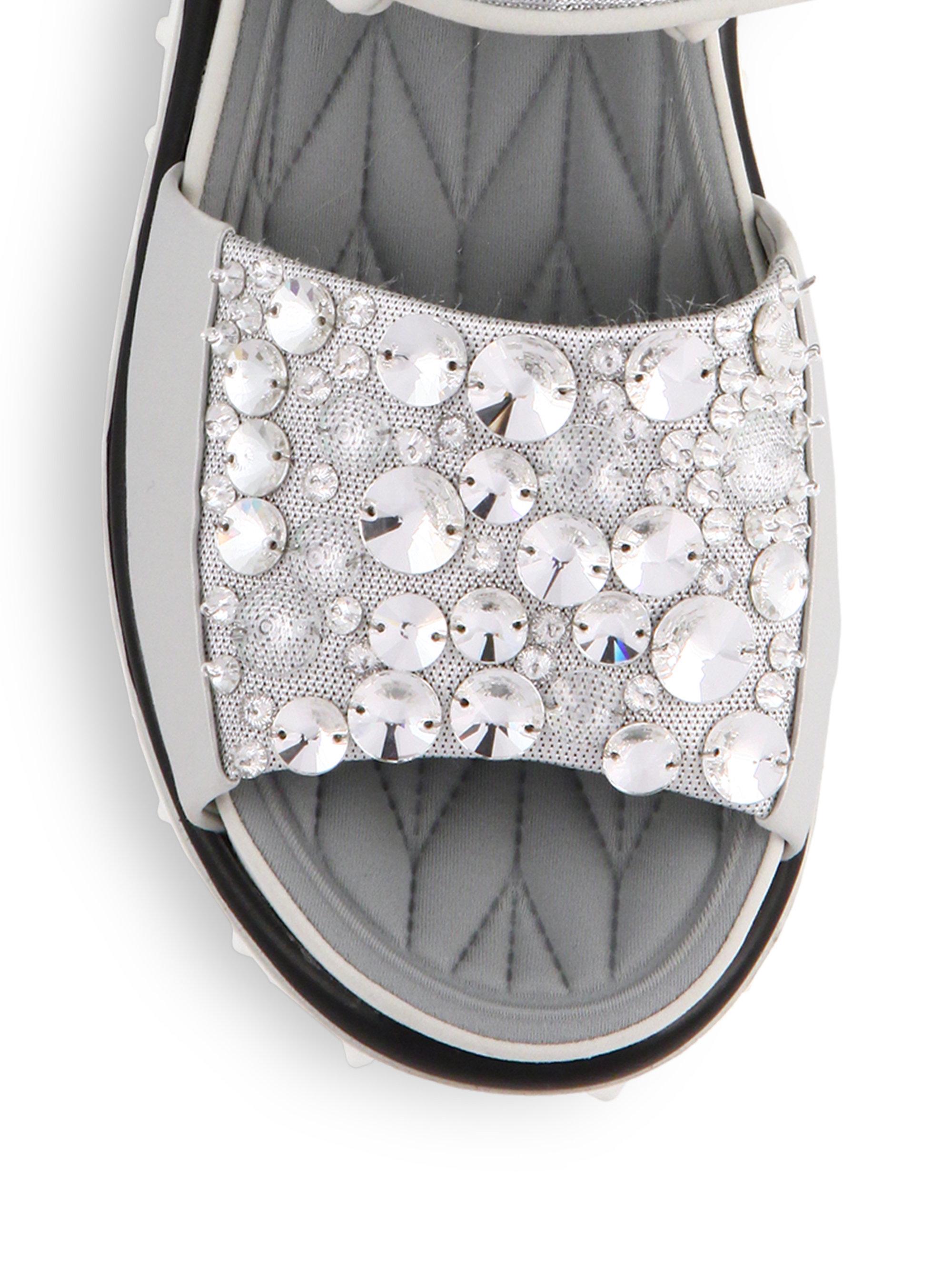 miu miu jeweled sport sandals in metallic lyst