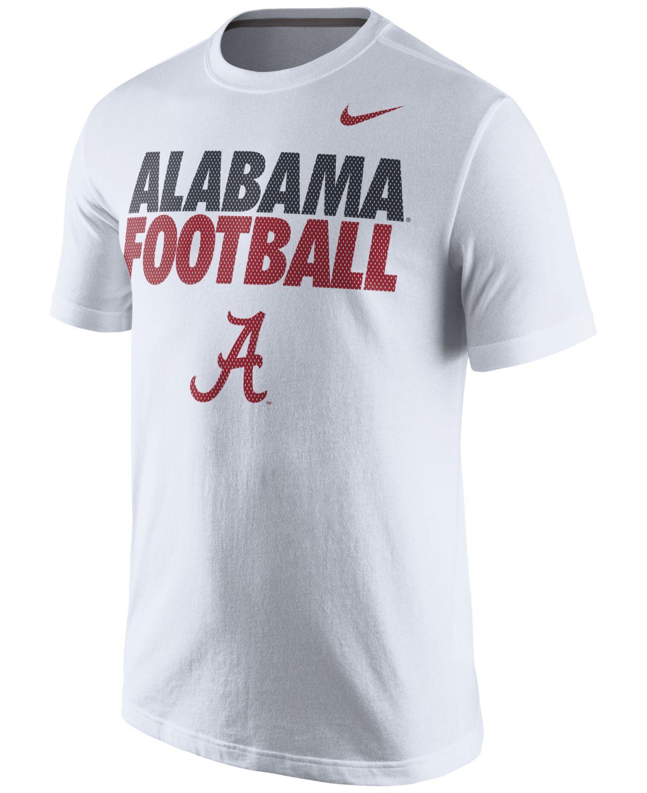 Nike men 39 s alabama crimson tide practice t shirt in white for Alabama crimson tide tee shirts