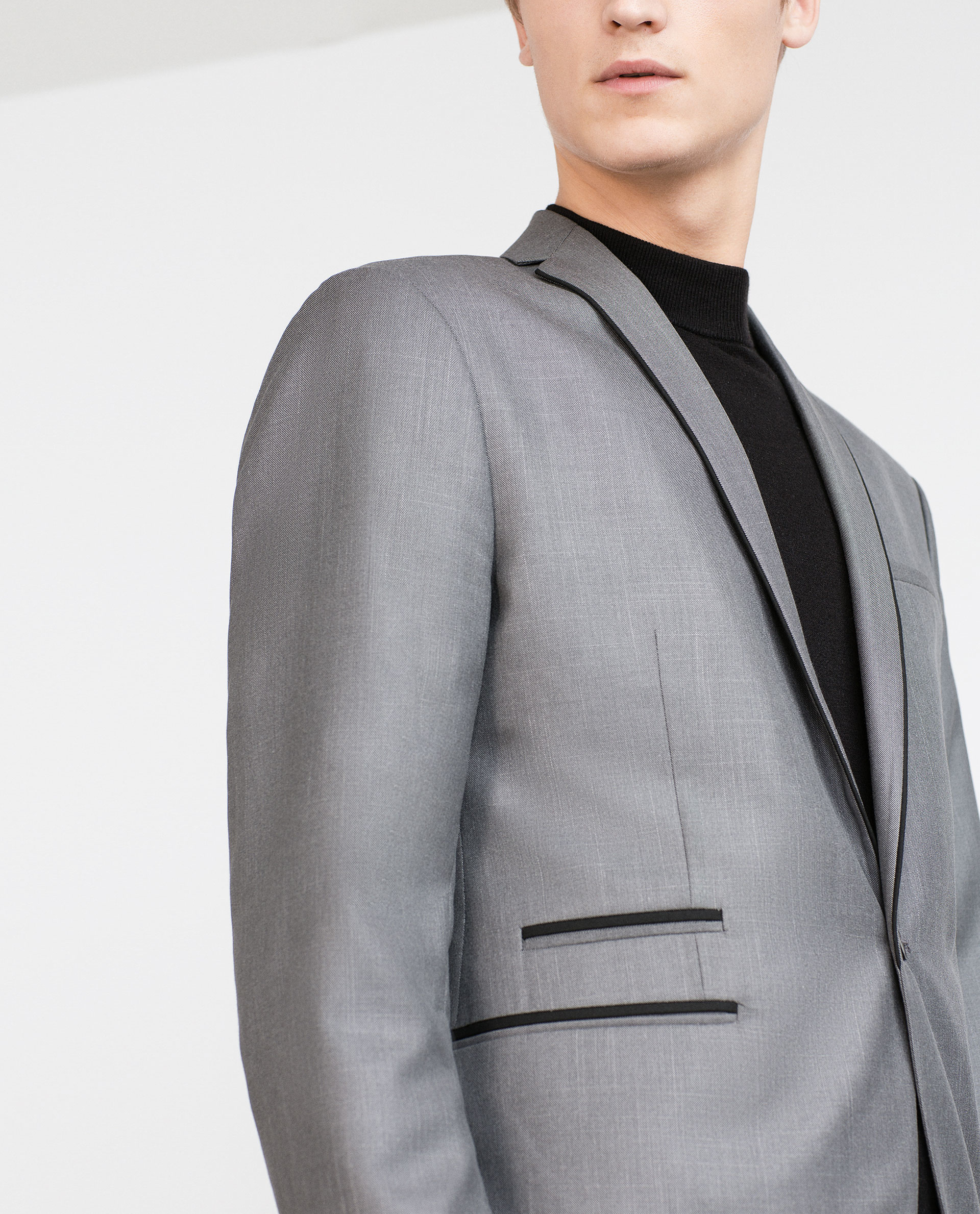 Zara Blazer With Black Piping in Gray for Men | Lyst