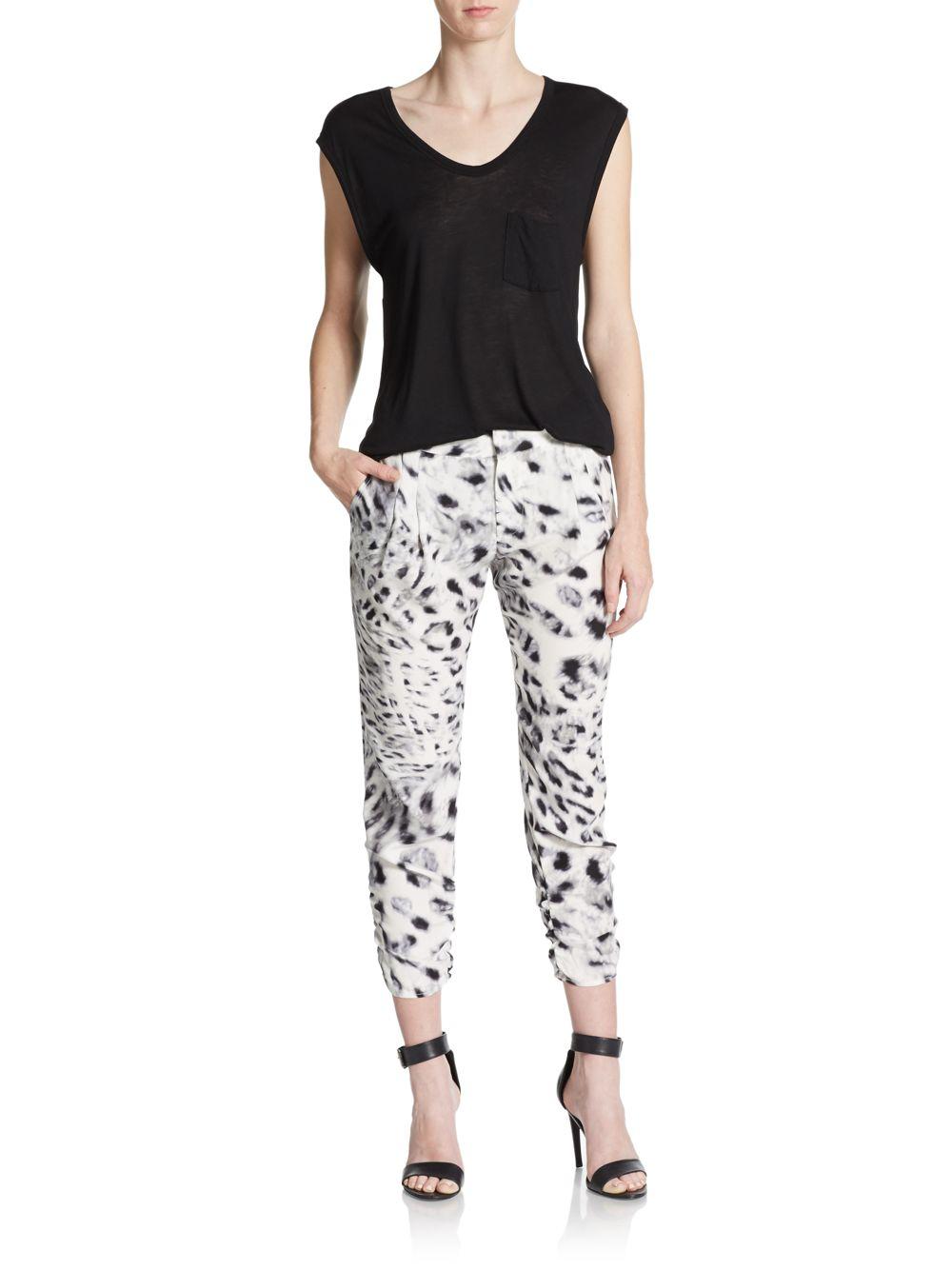 Parker Devlin Silk Leopard Print Cropped Pants In White Lyst