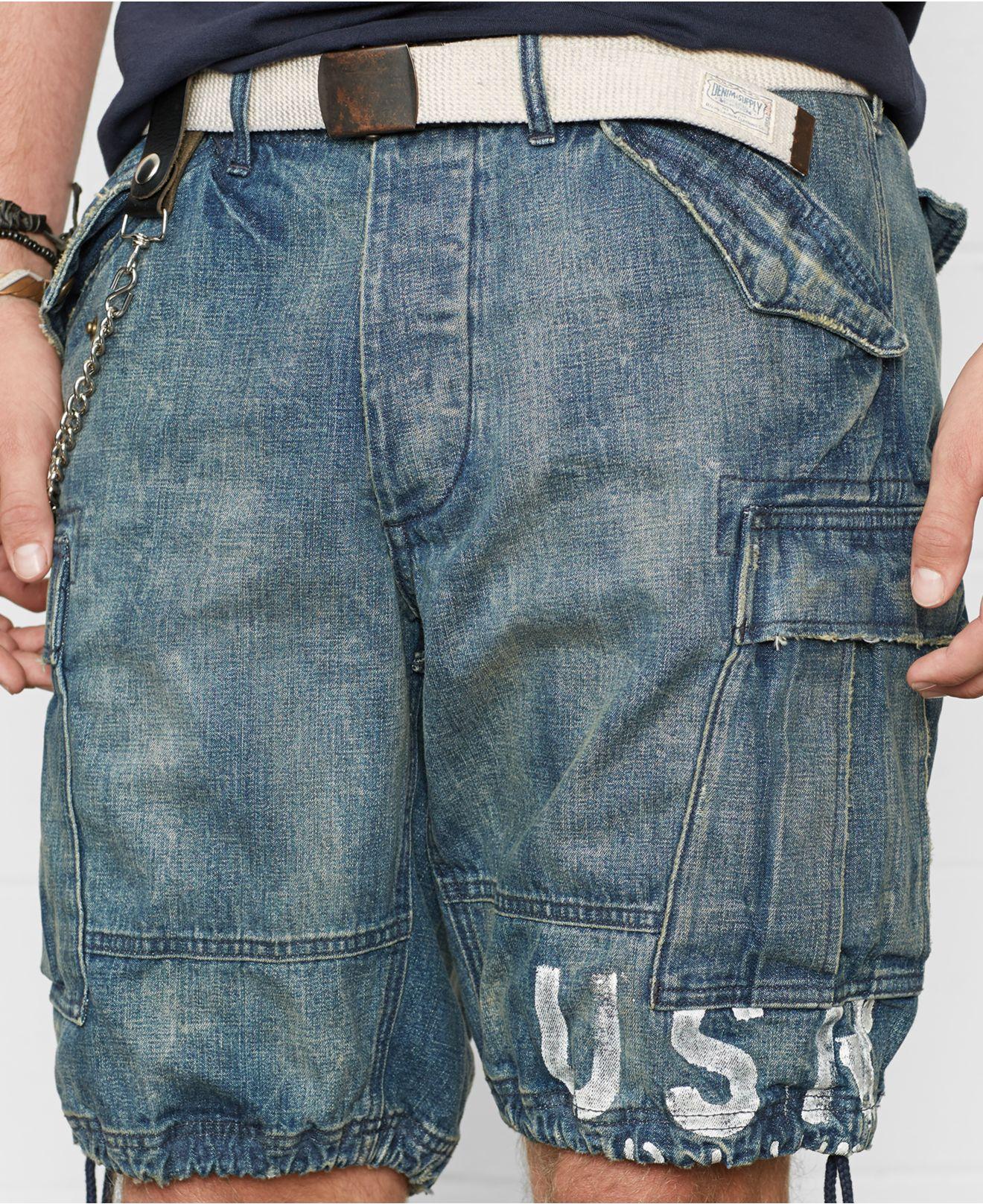 Denim & supply ralph lauren Denim Cargo Shorts in Blue for Men   Lyst