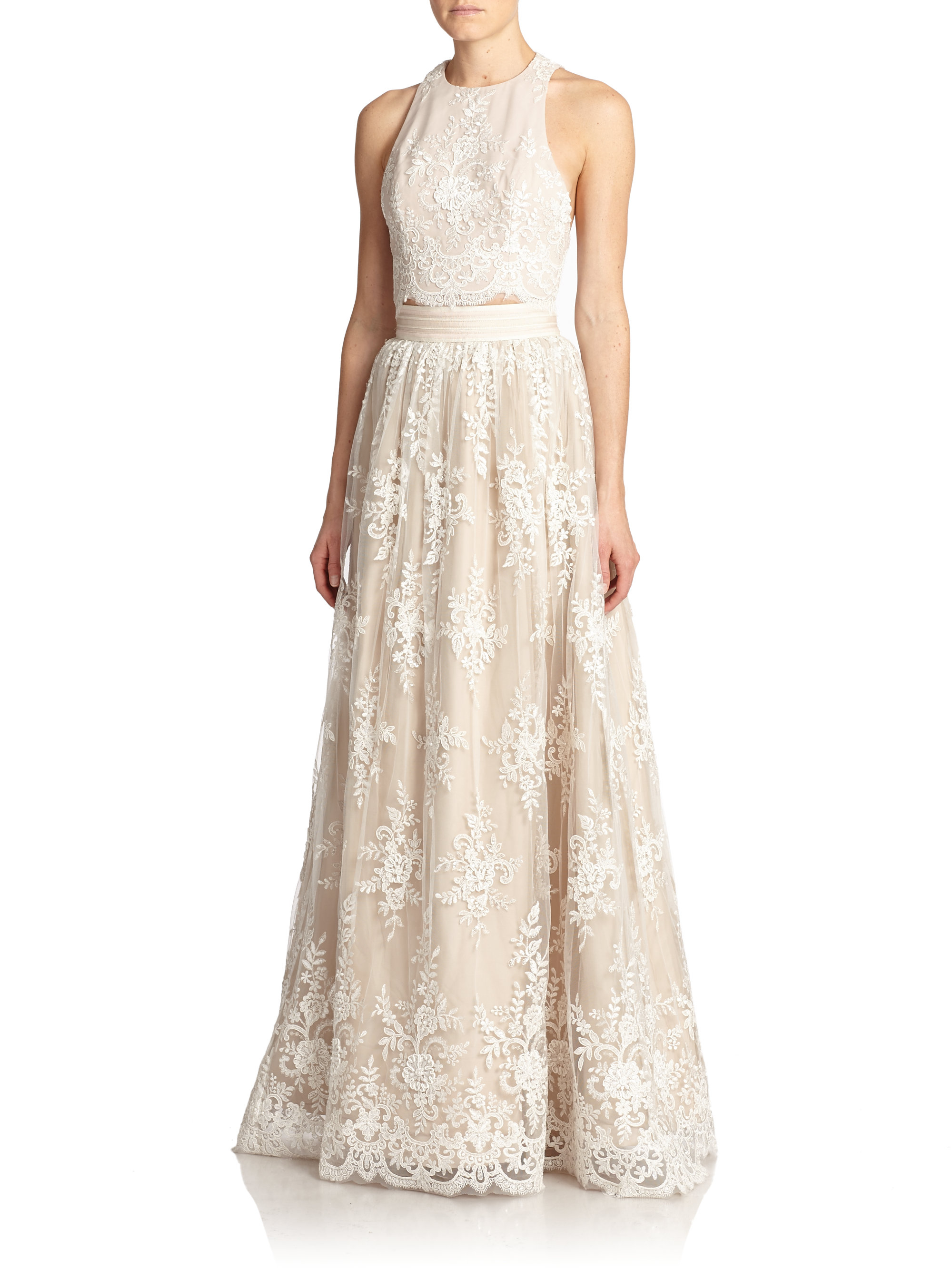 91f7ee6456f8 Lyst - Alice + Olivia Carter Lace-overlay Maxi Skirt in White