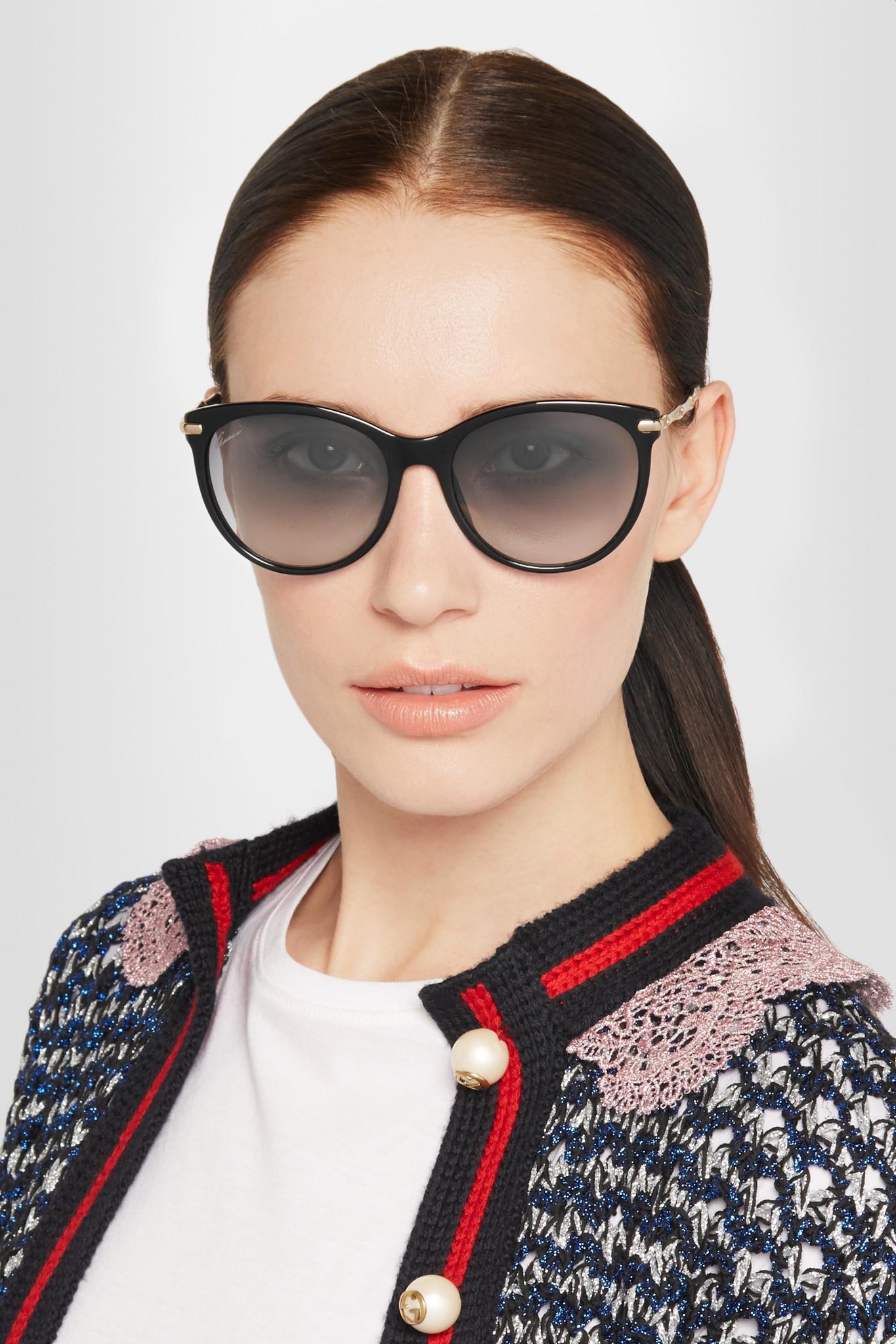 Adornados De Acetato De Ojos De Gato Y De Tono De Oro Gafas De Sol - Gucci Negro h9nNMy2th