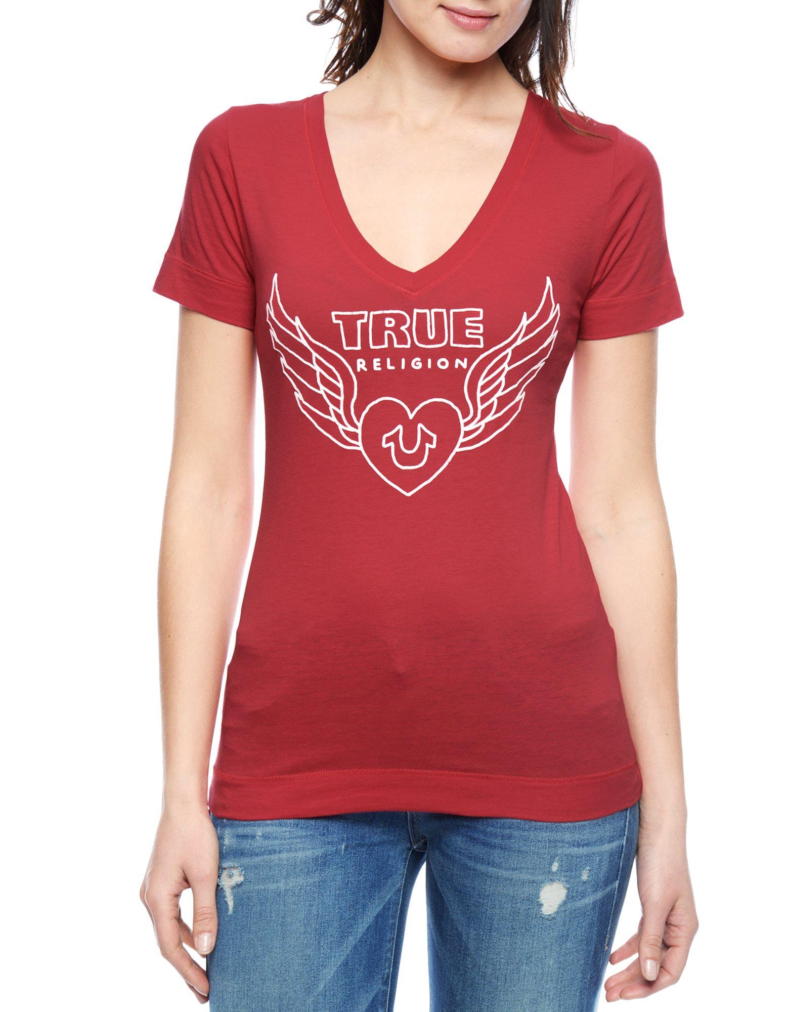 true religion heart slim womens t shirt in red lyst. Black Bedroom Furniture Sets. Home Design Ideas