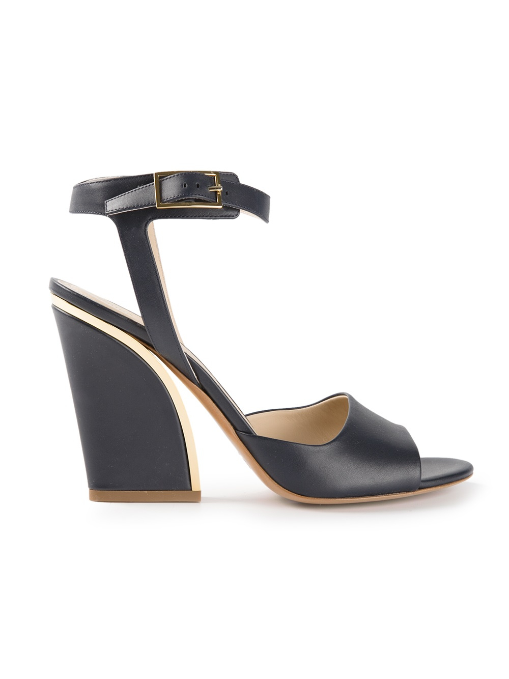 Chloé Chunky Heel Sandals in Blue | Lyst