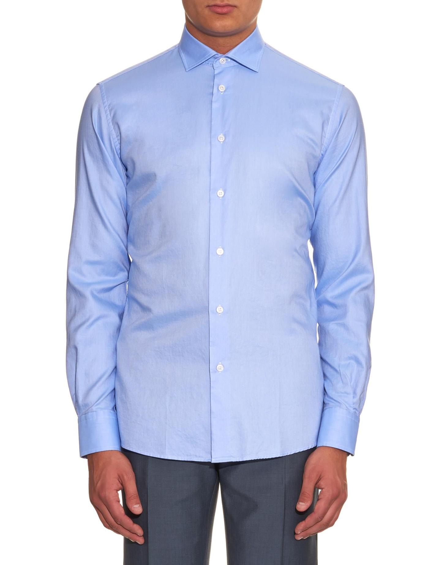 Lyst bottega veneta roma collar oxford shirt in blue for men for Mens blue oxford shirt