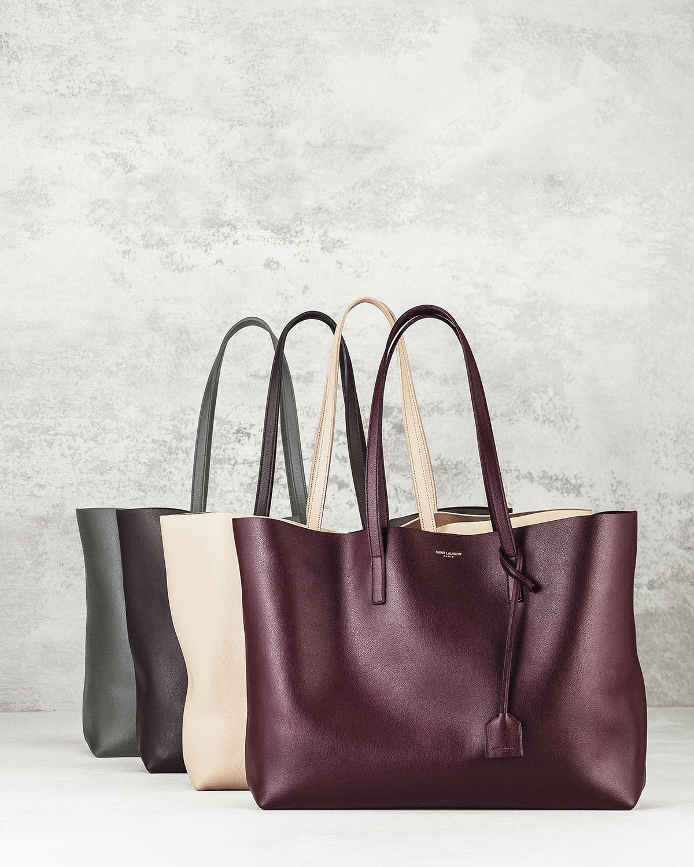 yves saint laurent faux - y-ligne cabas mini leather bag, bordeaux
