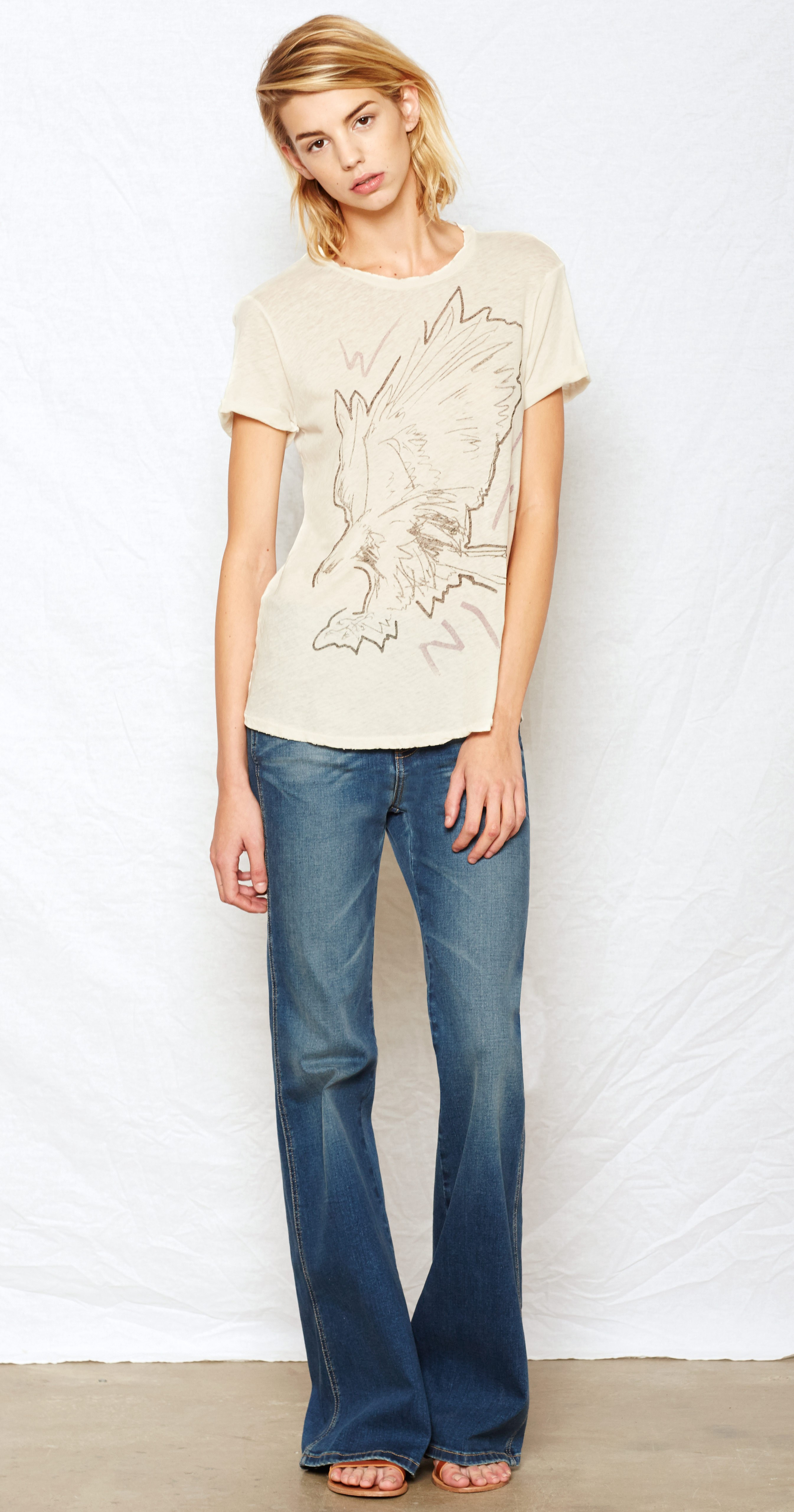 Lyst Current Elliott The Rolled Sleeve Crew T Shirt In White