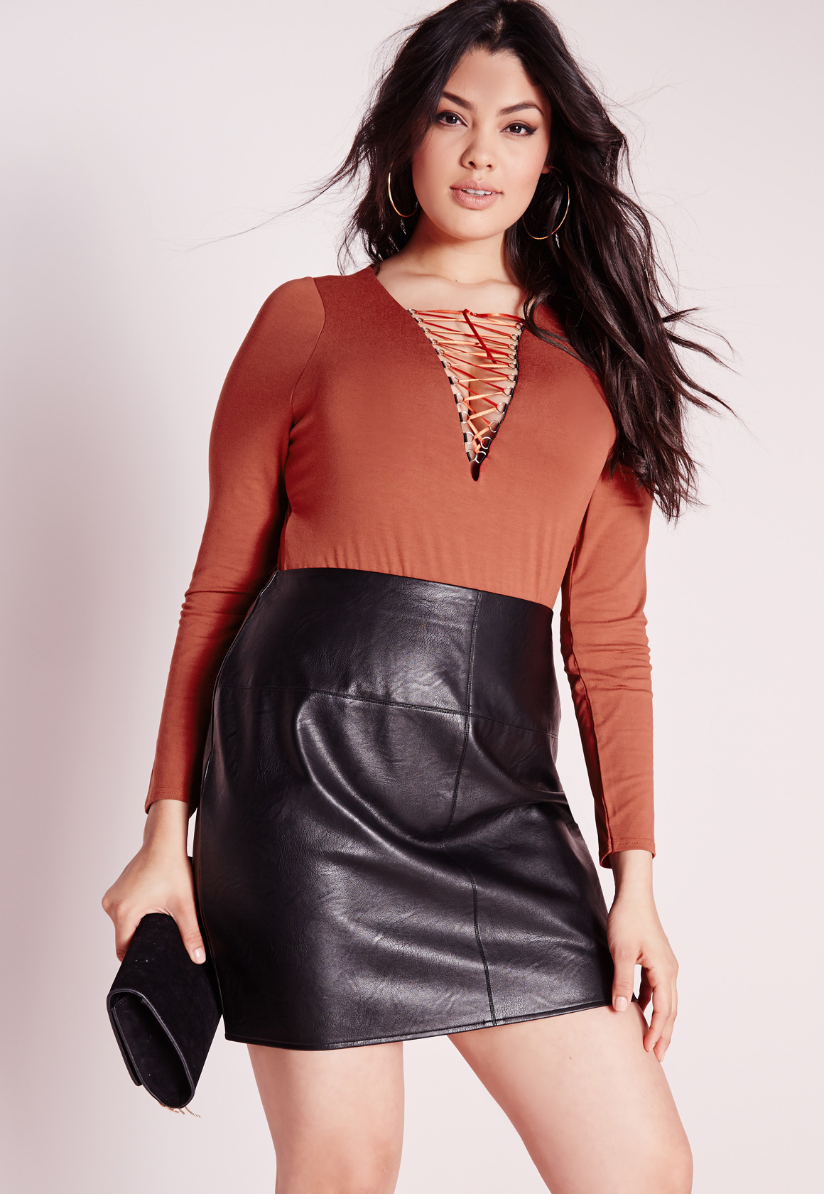Lyst - Missguided Plus Size Lace Up Bodysuit Rust in Brown