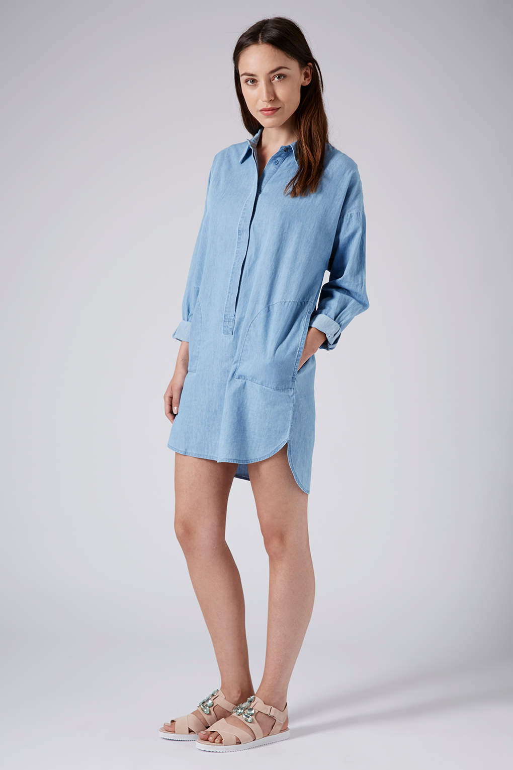 Lyst topshop denim shirt dress in blue for Womens denim shirts topshop
