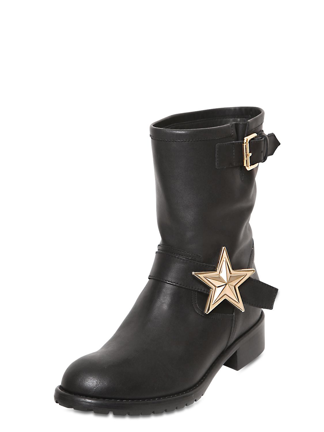 Red Valentino 40mm Star Leather Biker Boots In Black Lyst