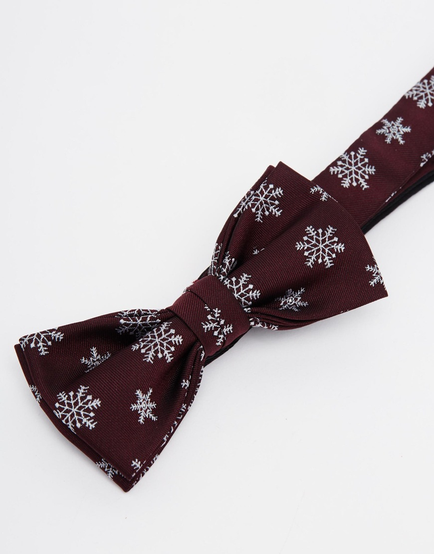 7279b3fab70c4 ASOS Christmas Bow Tie In Snowflake Design in Purple for Men - Lyst