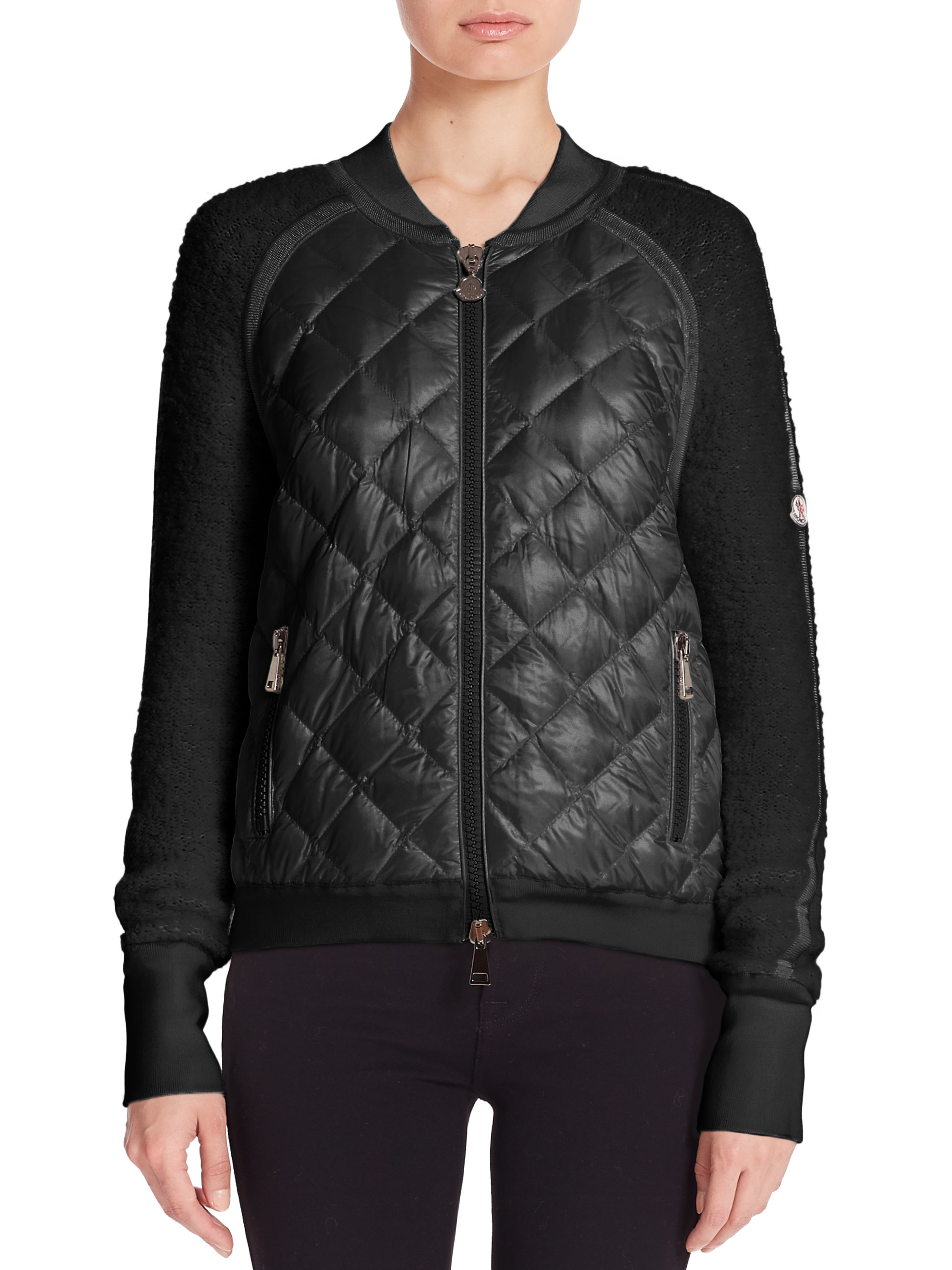 moncler quilted bomber jacket in black lyst. Black Bedroom Furniture Sets. Home Design Ideas