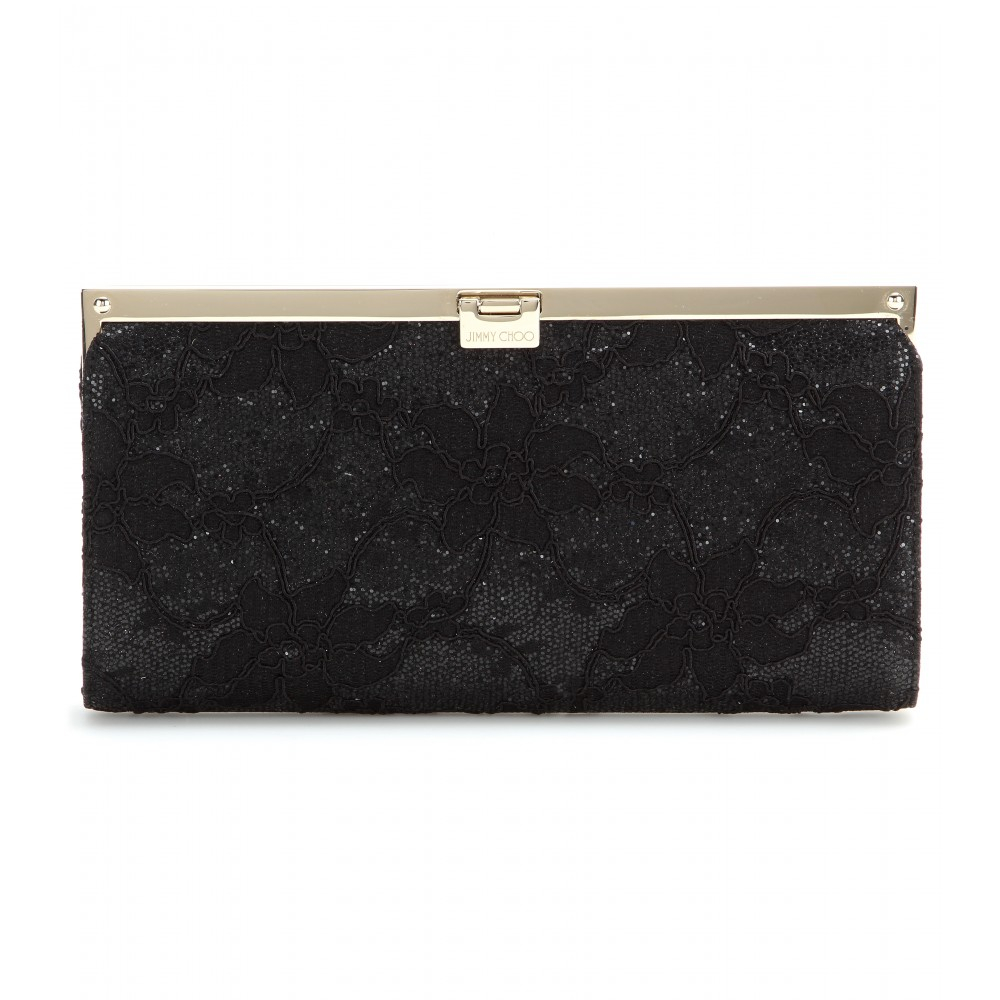 jimmy choo camille glitter and lace clutch in black lyst. Black Bedroom Furniture Sets. Home Design Ideas