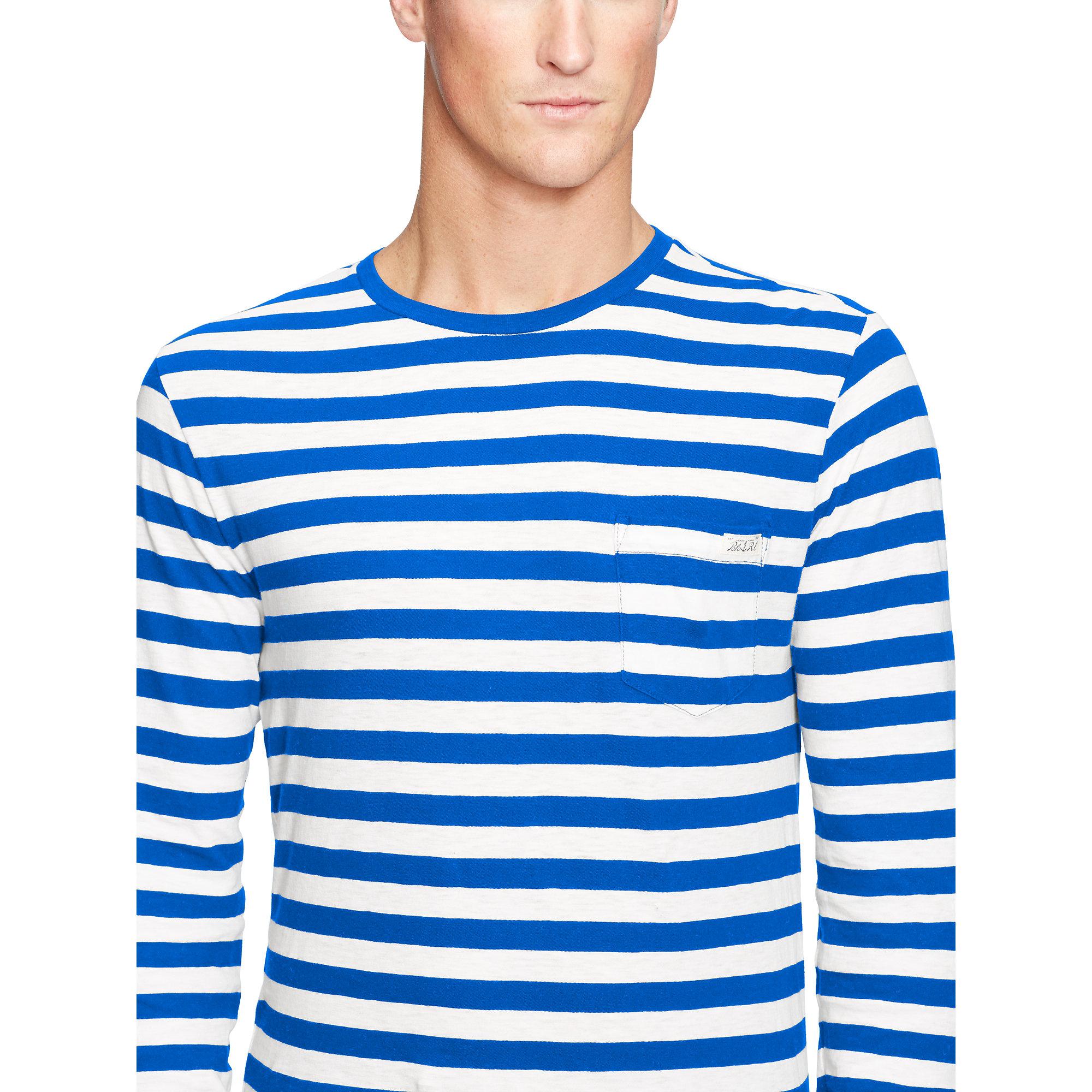 Polo ralph lauren striped long sleeved t shirt in blue for for Blue and white striped long sleeve t shirt