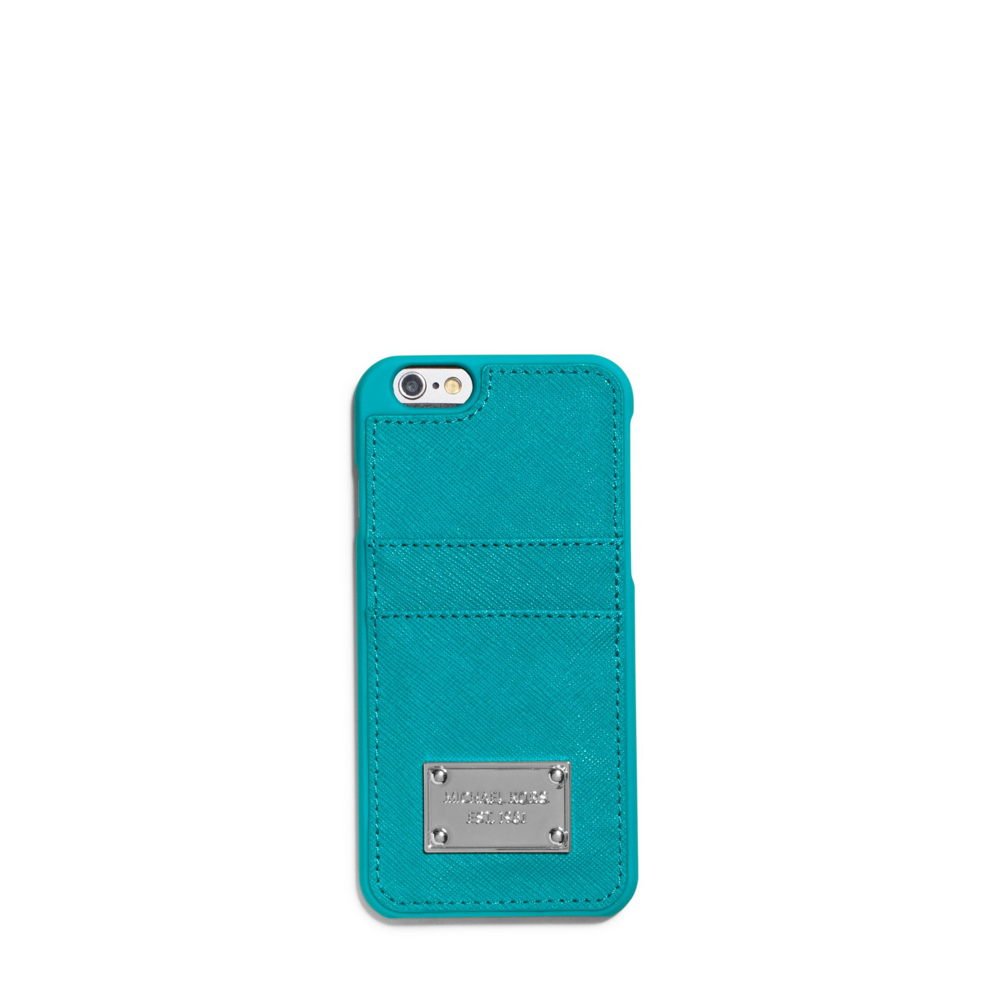 7888931028a3 Michael Kors Saffiano Leather Pocket Smartphone Case in Blue - Lyst