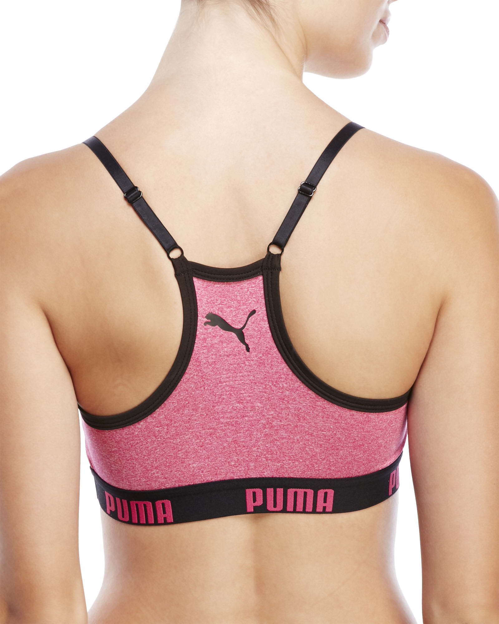 puma purple seamless sports bra removable cups