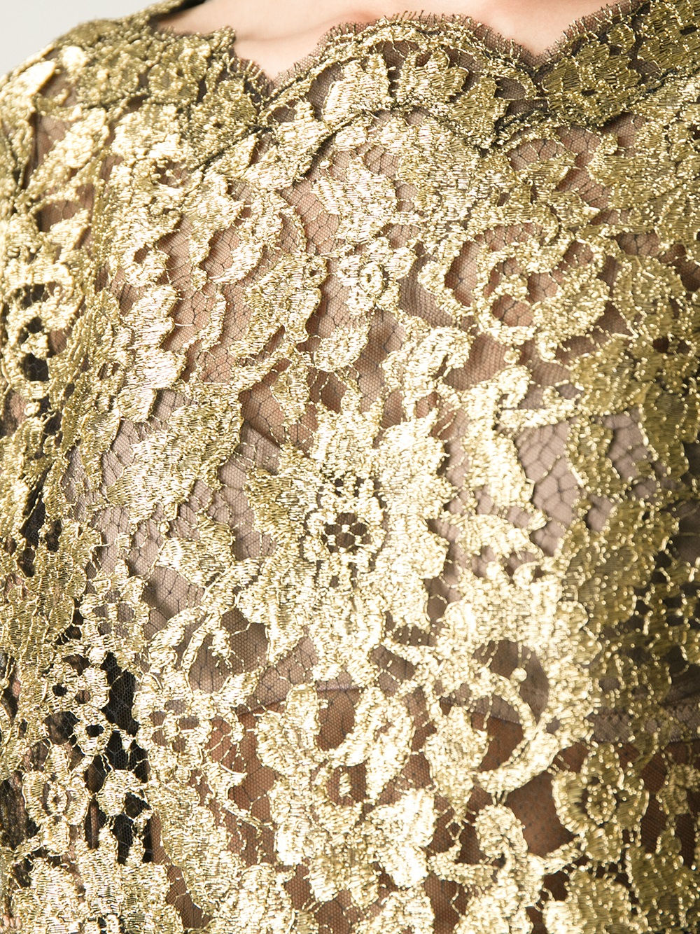 Lyst Dolce Amp Gabbana Lace Top In Metallic