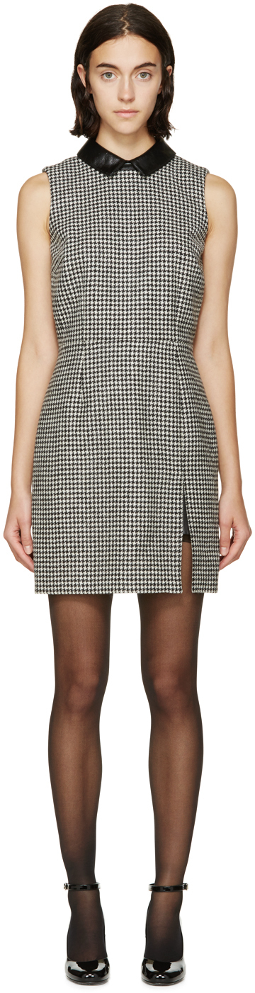 Lyst Saint Laurent Black And White Houndstooth Dress In