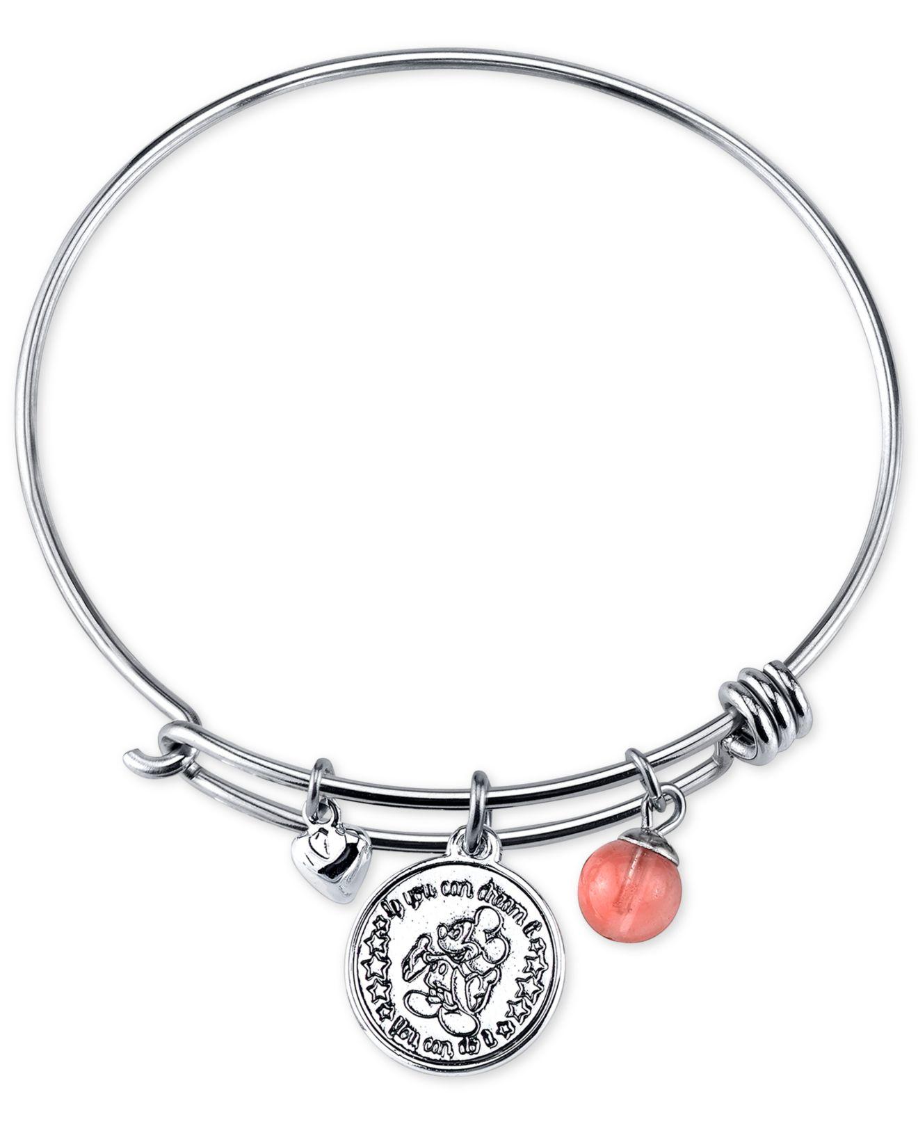 Mickey Mouse Charm Bracelet: Disney Mickey Minnie Mouse Cherry Quartz Charm Bracelet In