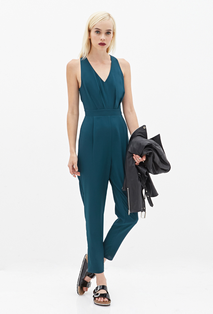 2bb39ebc6a61 Lyst - Forever 21 Cutout Pleated Jumpsuit in Green