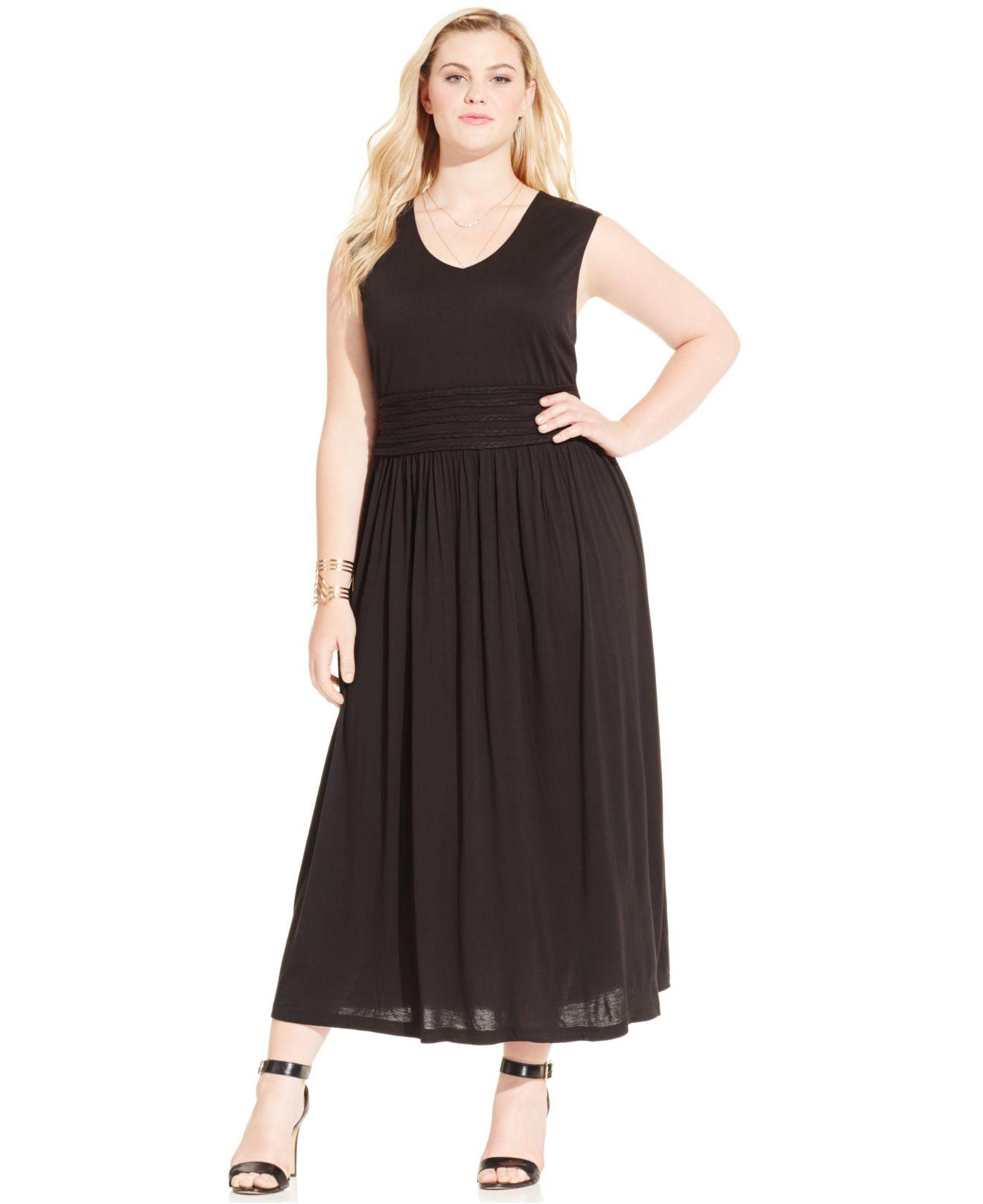Plus Size Black Empire Waist Dress