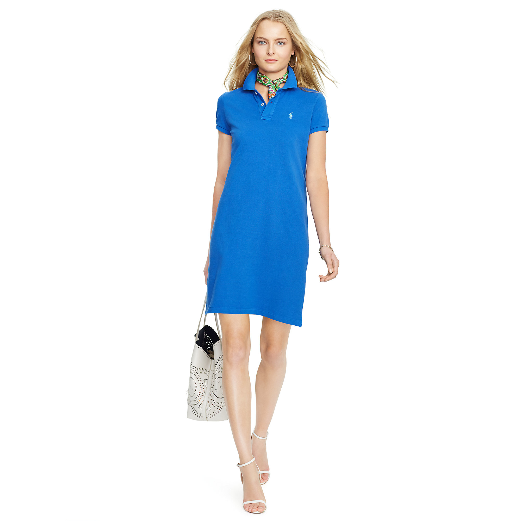 5f48bbdc06ad5 Lyst - Polo Ralph Lauren Cotton Mesh Polo Dress in Blue