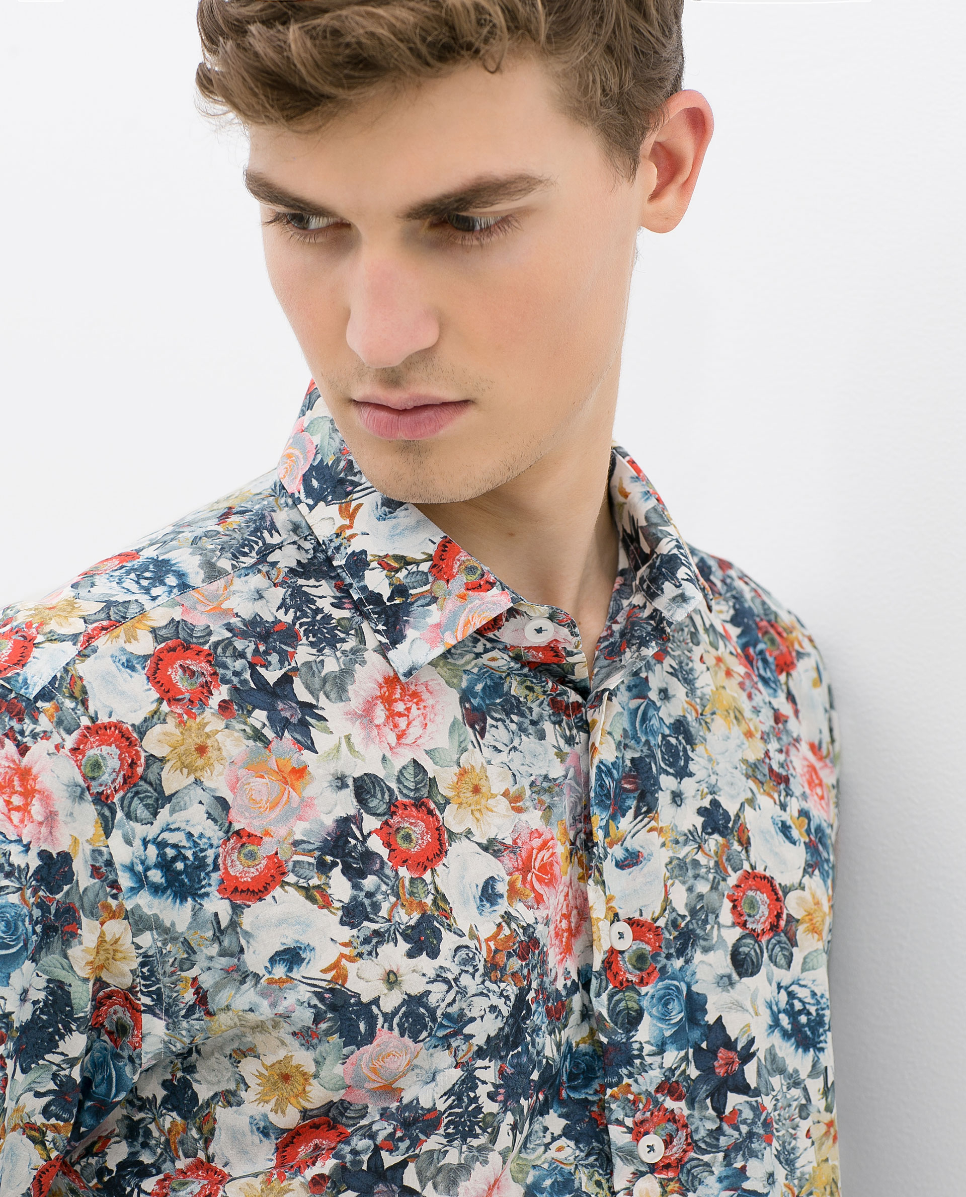 Zara Floral Print Shirt in Red for Men | Lyst