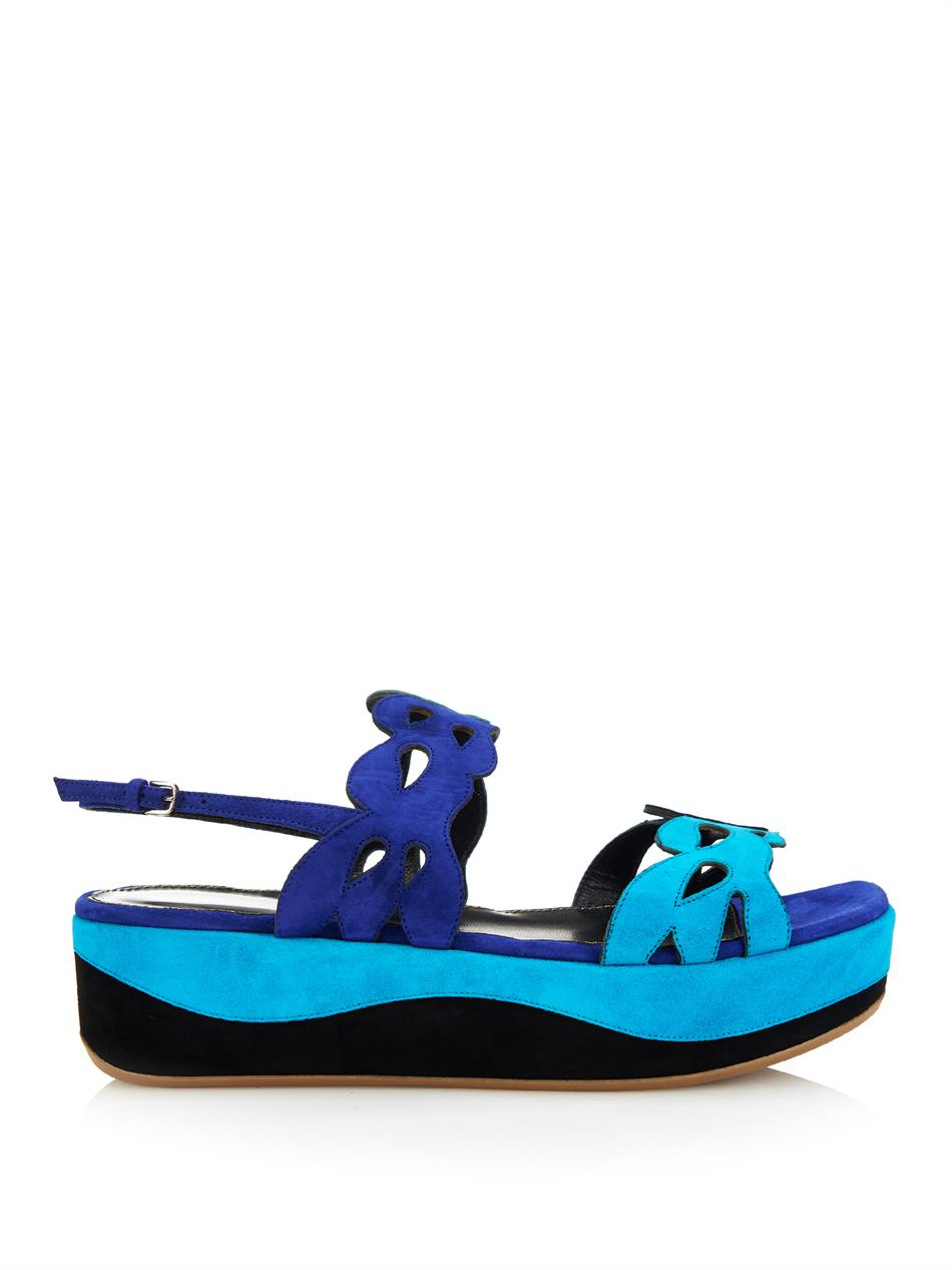 sergio rossi cut out suede flatform sandals in blue lyst. Black Bedroom Furniture Sets. Home Design Ideas