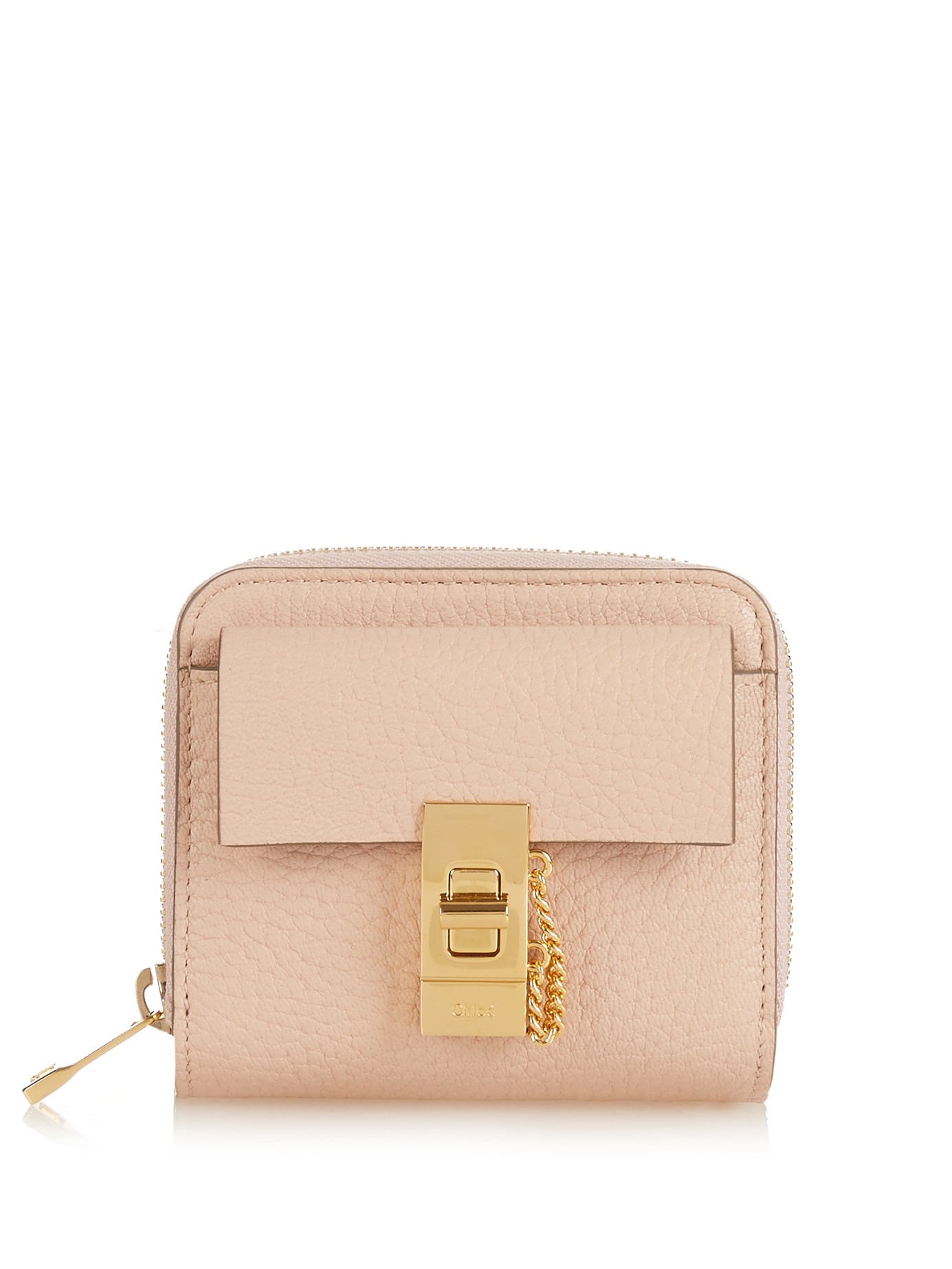 replica bags chloe - Chlo�� Drew Grained-Leather Wallet in Pink (LIGHT PINK) | Lyst